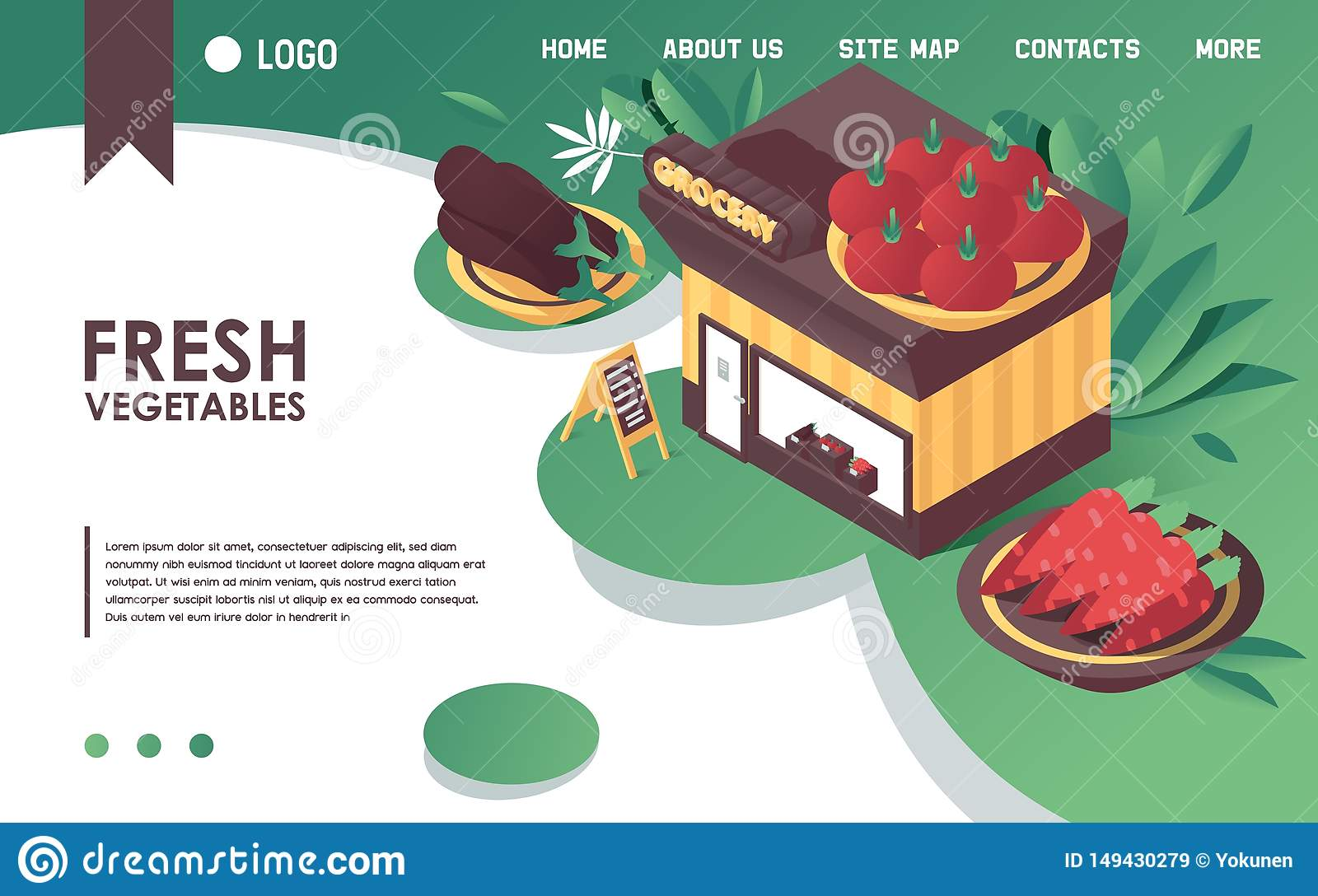 Vector isometric concept banner or landing page template, good for fresh vegetables store or farm grocery shop advertising. Bright