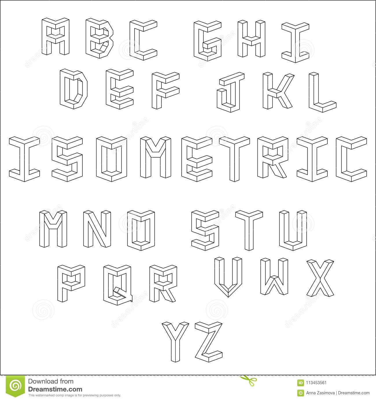 Vector Isometric Cubical Alphabet Set Of Vector Letters Constructed