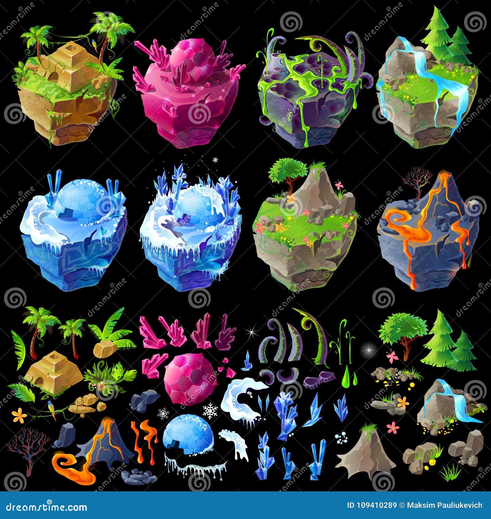 Vector isometric 3d fantastic islands, details for gui, game design. Cartoon illustration of different landscapes