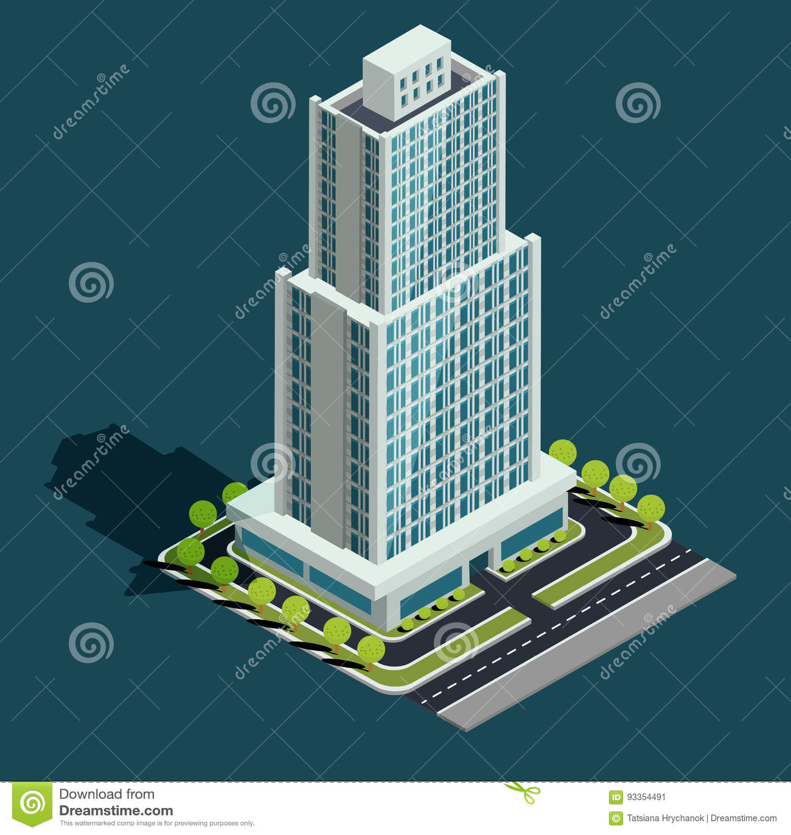 Vector Isometric 3D Illustration Of Modern Urban Building Stock