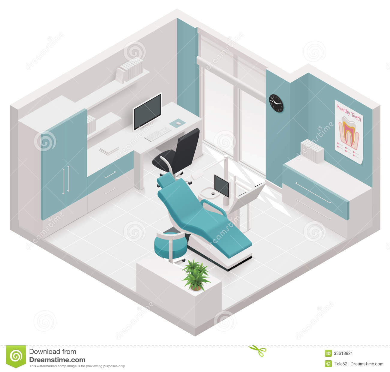 Vector Isometric Dental Clinic Icon Stock Image - Image: 33618821