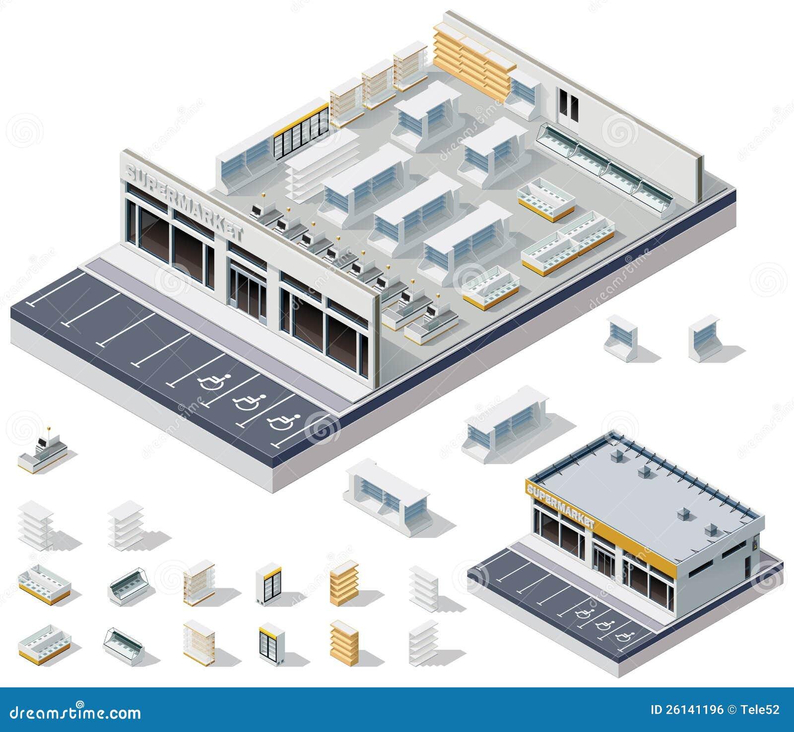 Vector Isometric Diy Supermarket Interior Plan Stock