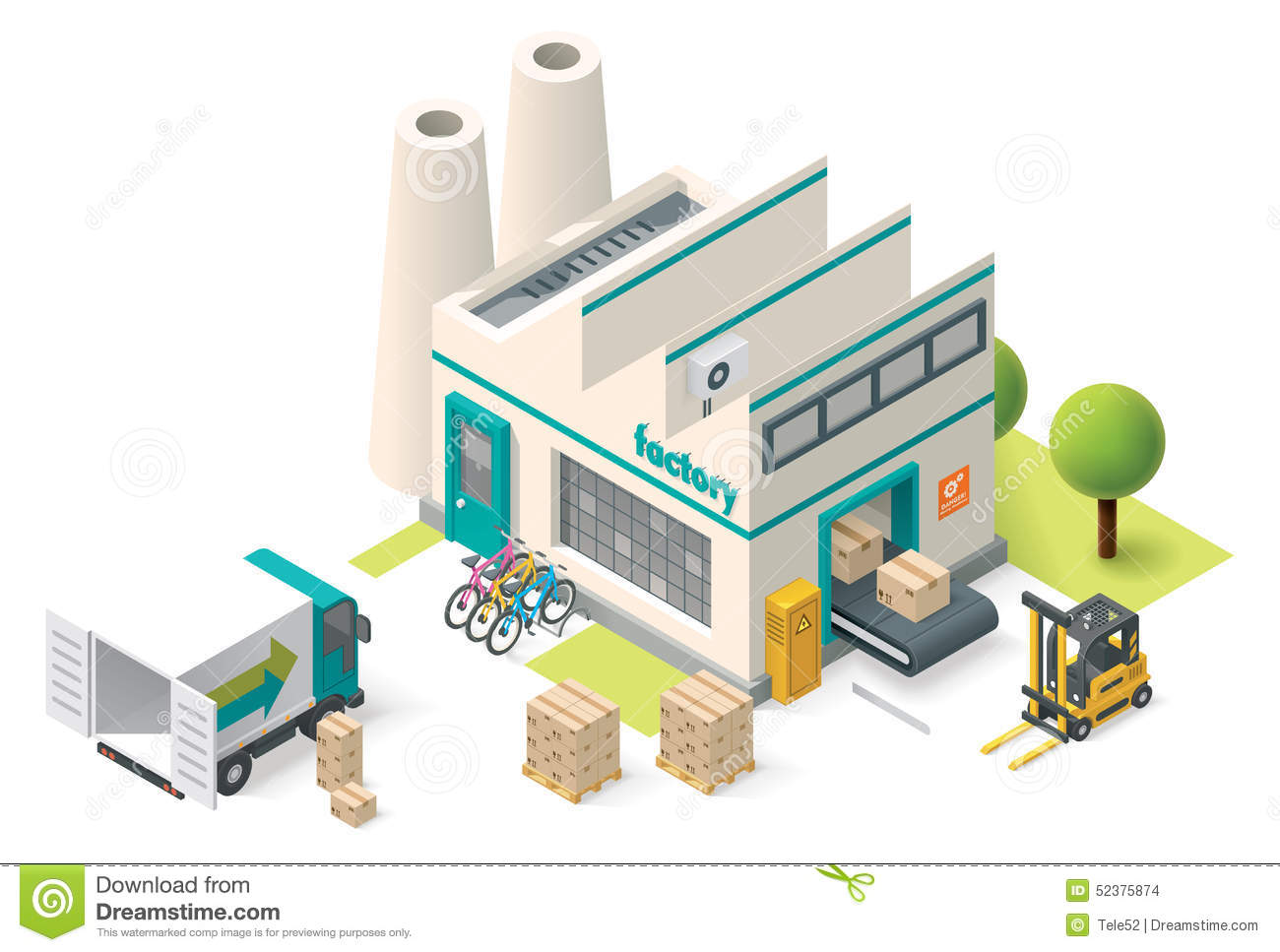 Vector Isometric Factory Stock Vector Image 52375874