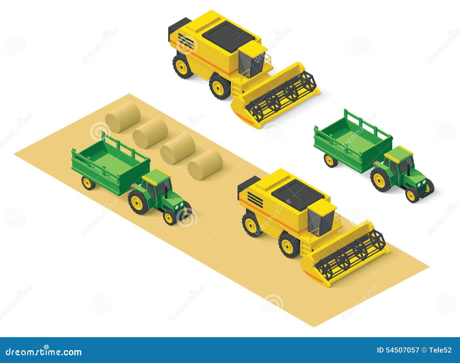 Vector Isometric Farm Vehicles Set Stock Vector