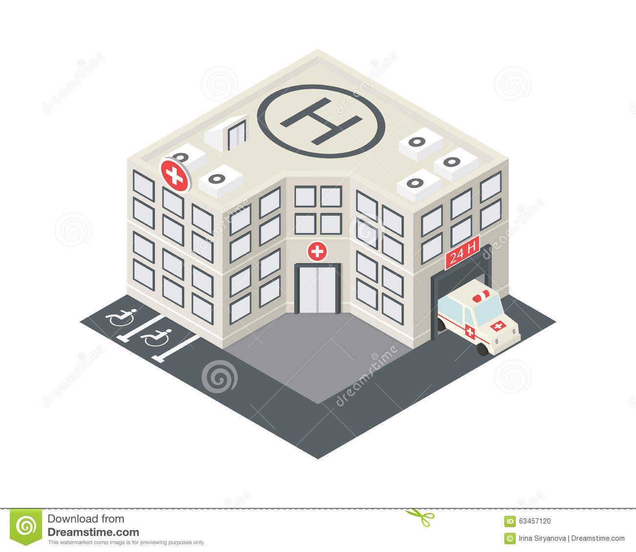 Vector Isometric Hospital Building Icon Stock Vector