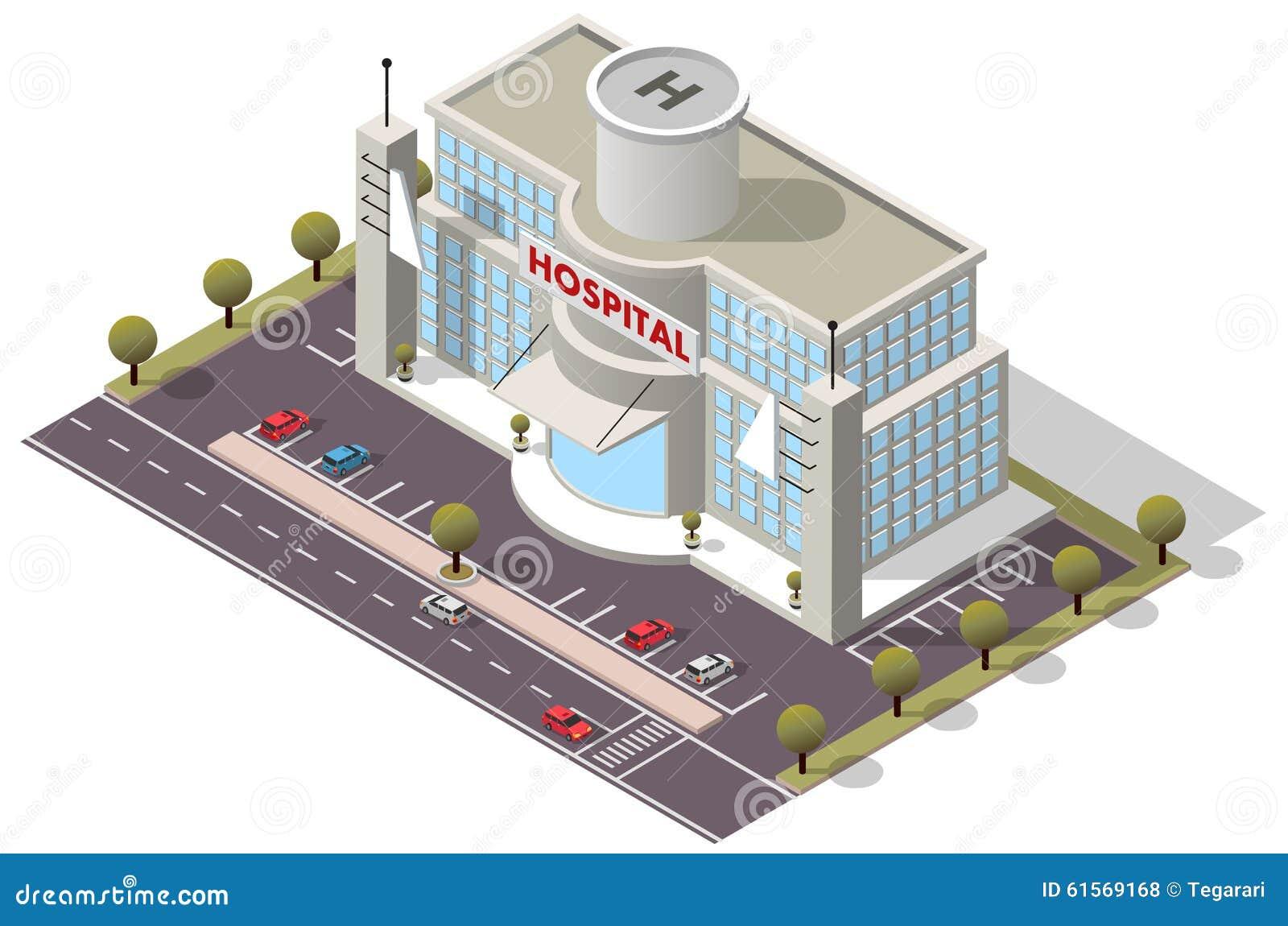 Vector Isometric Hospital Building Stock Vector