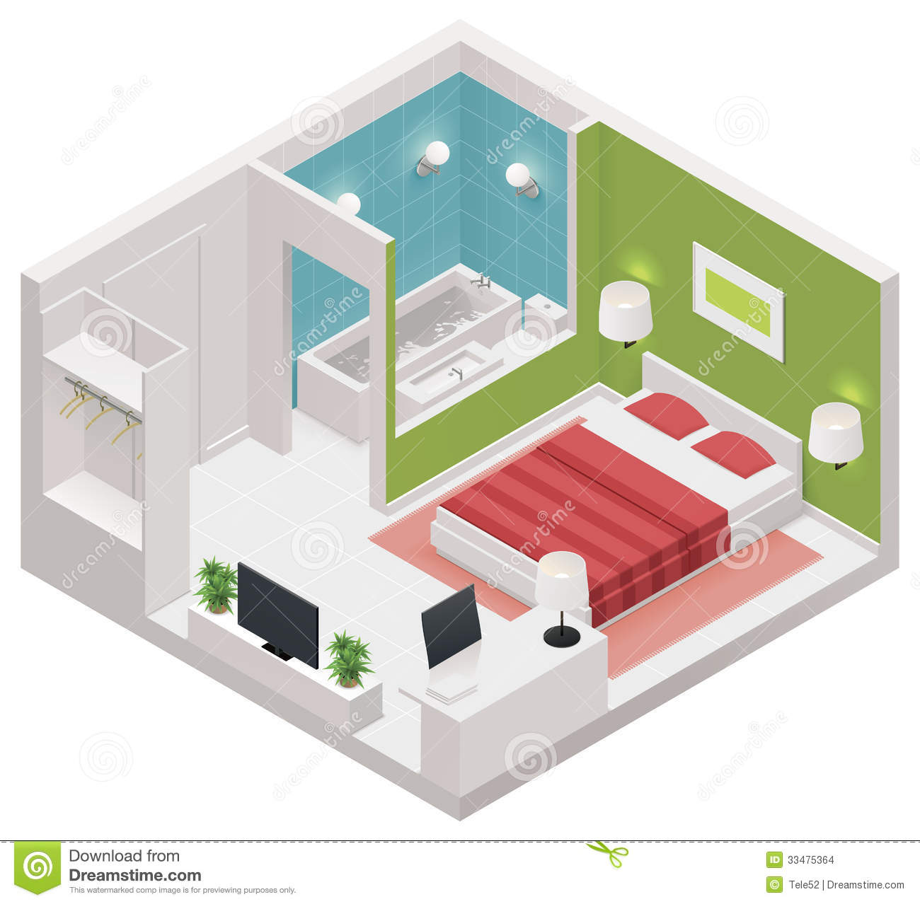 Vector Isometric Hotel Room Icon Stock Image