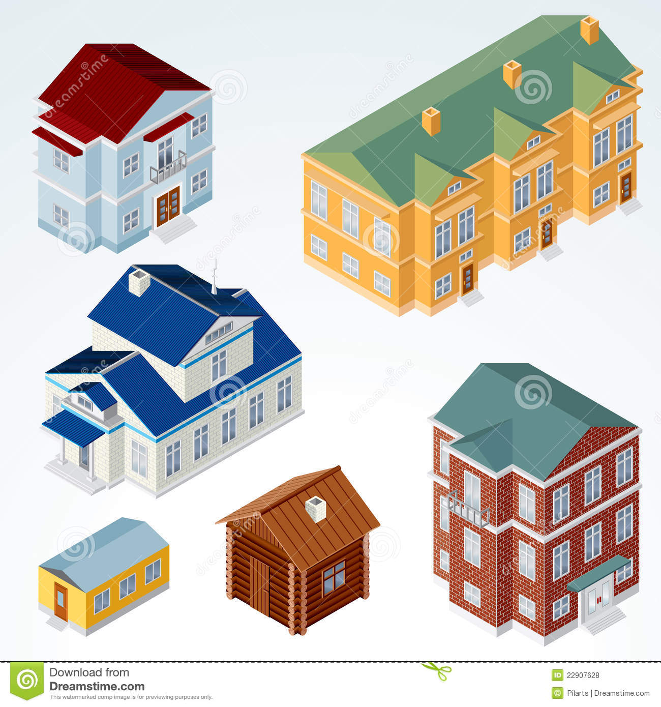 Vector Isometric House #1 Royalty Free Stock Photos  Image: 22907628 - Cottage House Floor Plans
