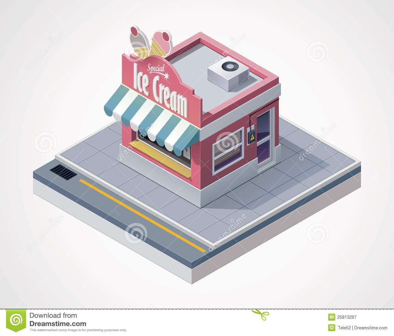 Vector Isometric Ice Cream Store Royalty Free Stock Photography Image 25813267