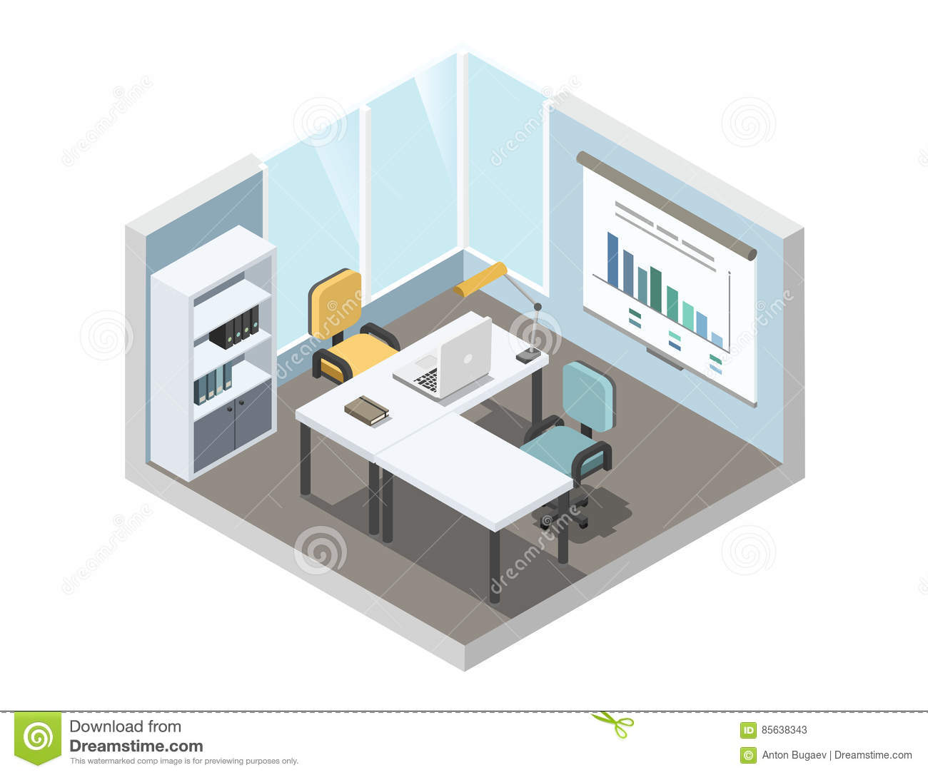 Workplace working at computer flat 3d isometric vector for Planos de oficinas administrativas