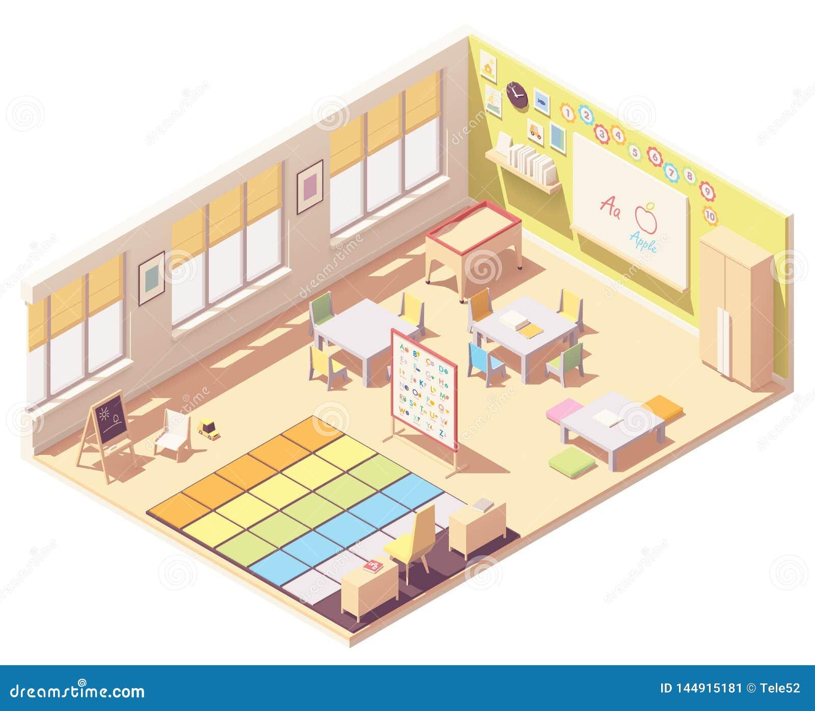 Vector Kindergarten Classroom Stock Vector Illustration Of Class Classroom 144915181