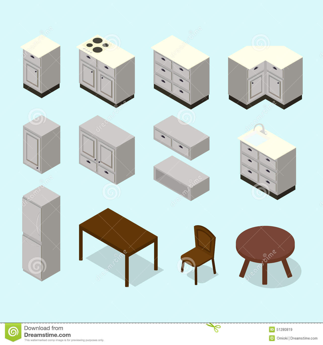 vector isometric kitchen furniture set stock vector