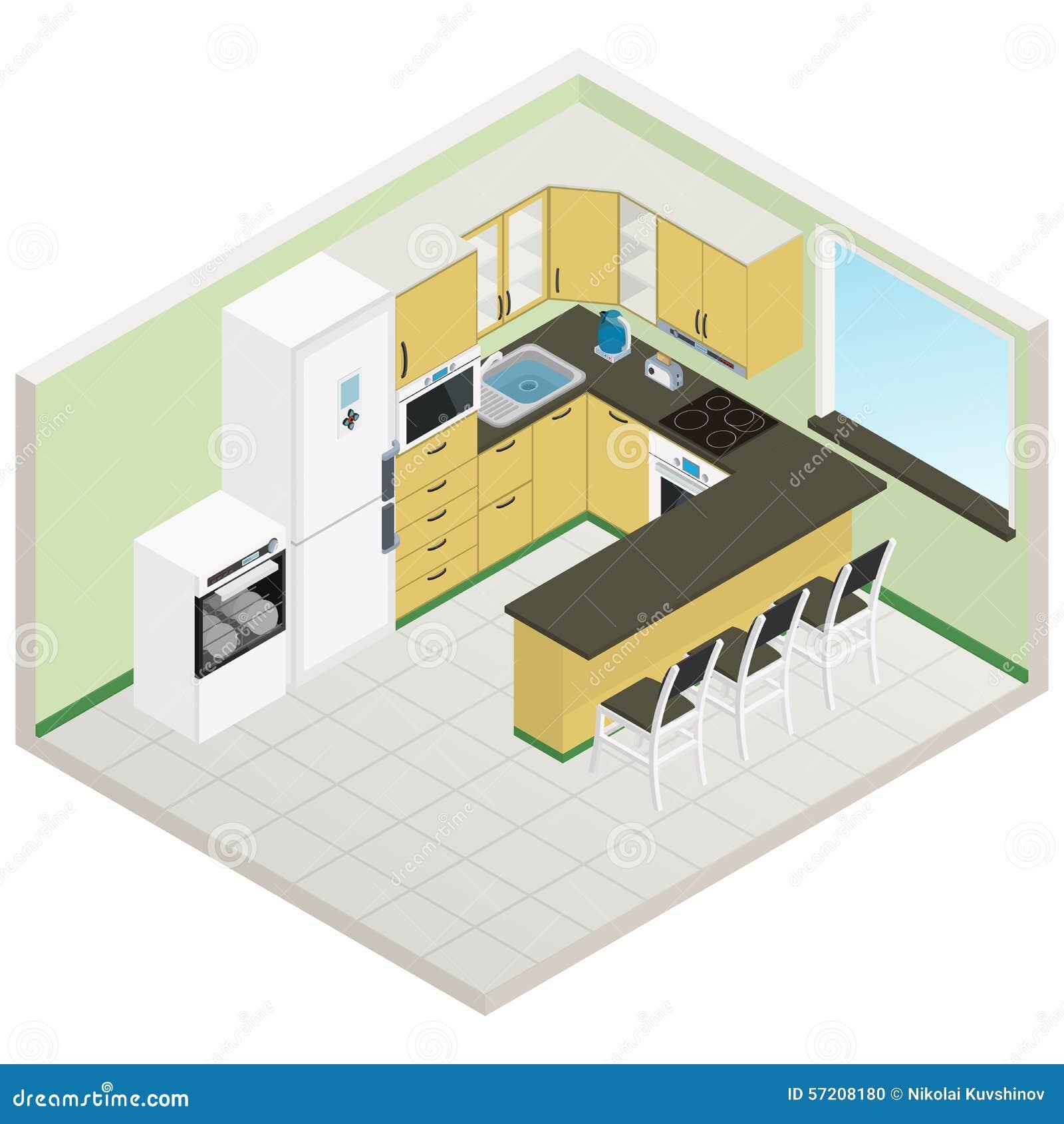 3d Floor Plan Isometric: Vector Isometric Kitchen Interior Stock Vector