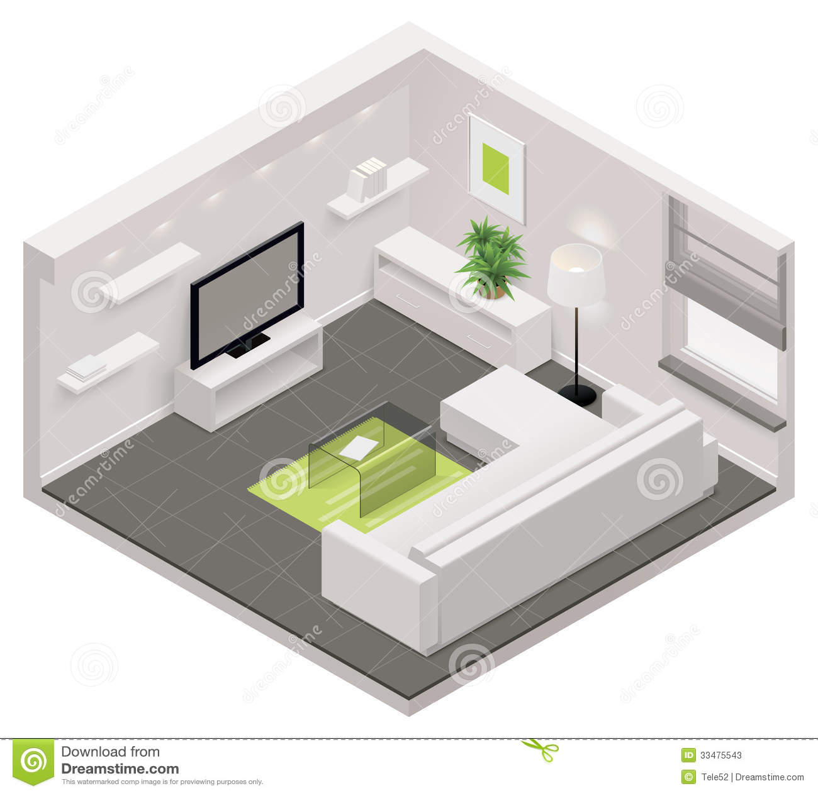 Vector Isometric Living Room Icon Stock Photos Image