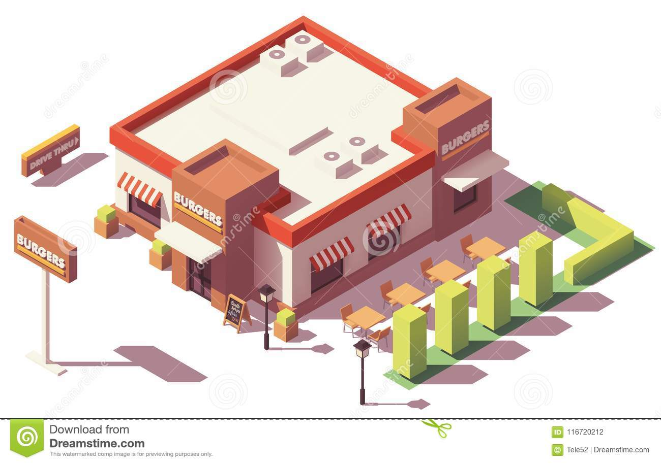 Vector Isometric Low Poly Fast Food Restaurant Stock Vector Illustration Of Exterior Flat 116720212