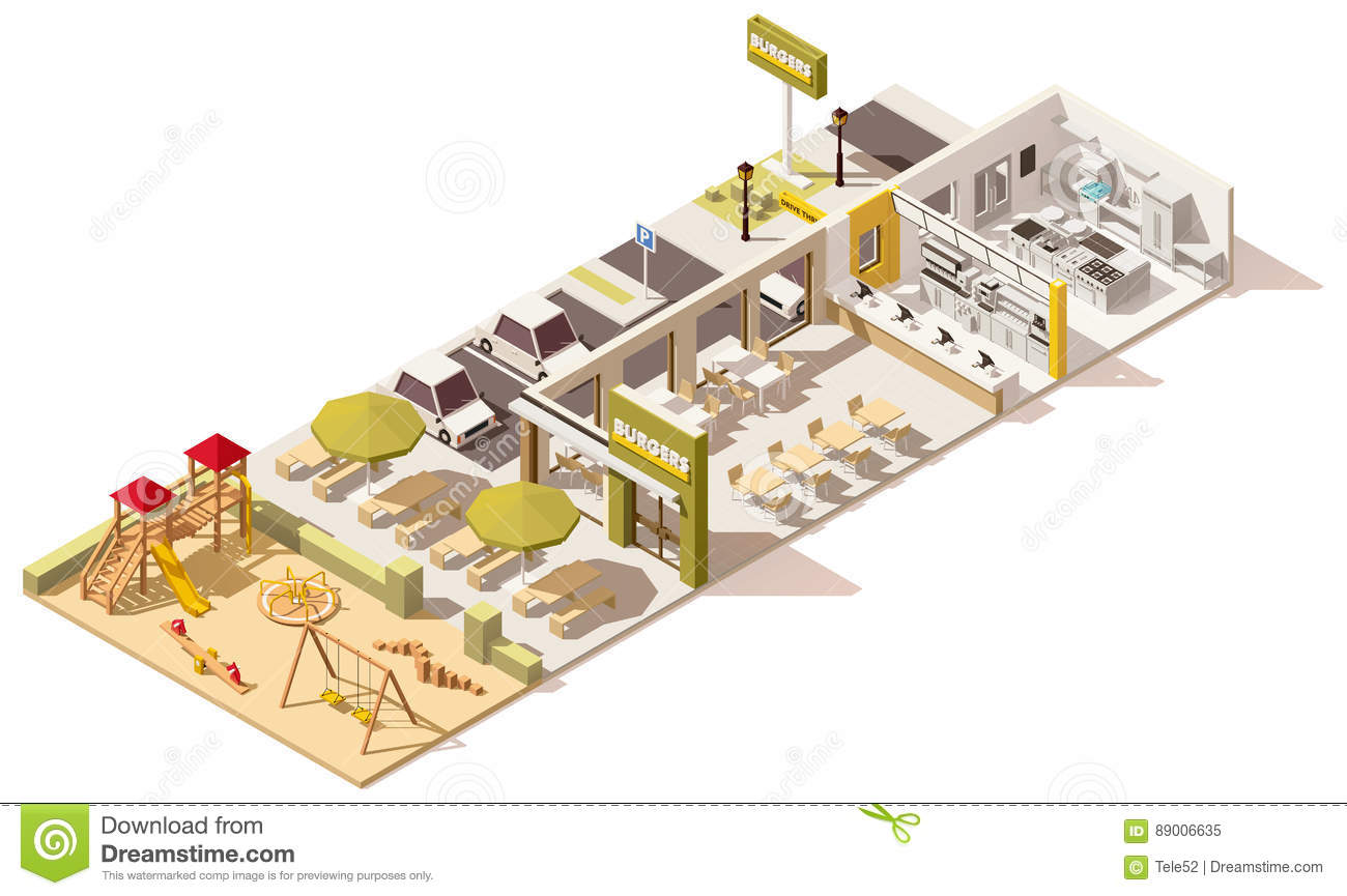 Vector Isometric Low Poly Fast Food Restaurant Stock Vector