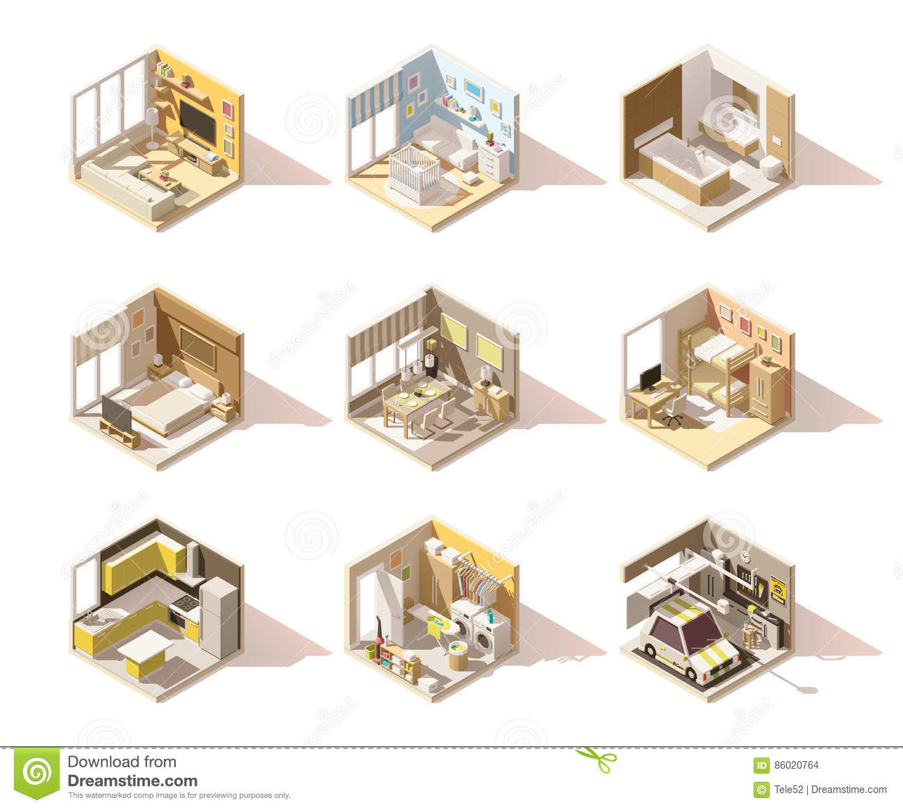 Cartoon Dining Room: Vector Isometric Low Poly Home Rooms Set Stock Vector