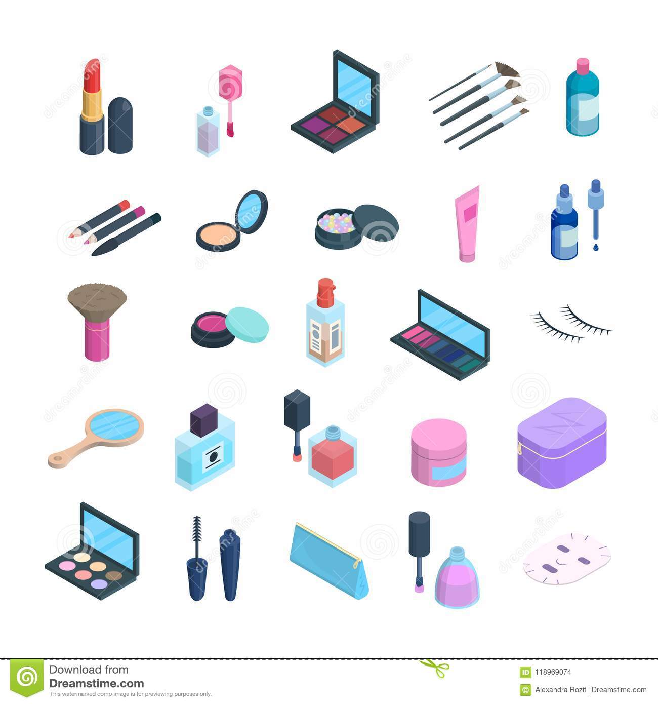 Vector Isometric Makeup Elements Set  3d Dimension Icons Of