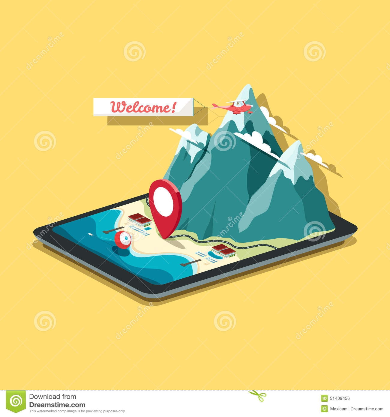 Vector isometric map in flat design style tablet pc with mobile vector isometric map in flat design style tablet pc with mobile royalty free vector gumiabroncs Gallery