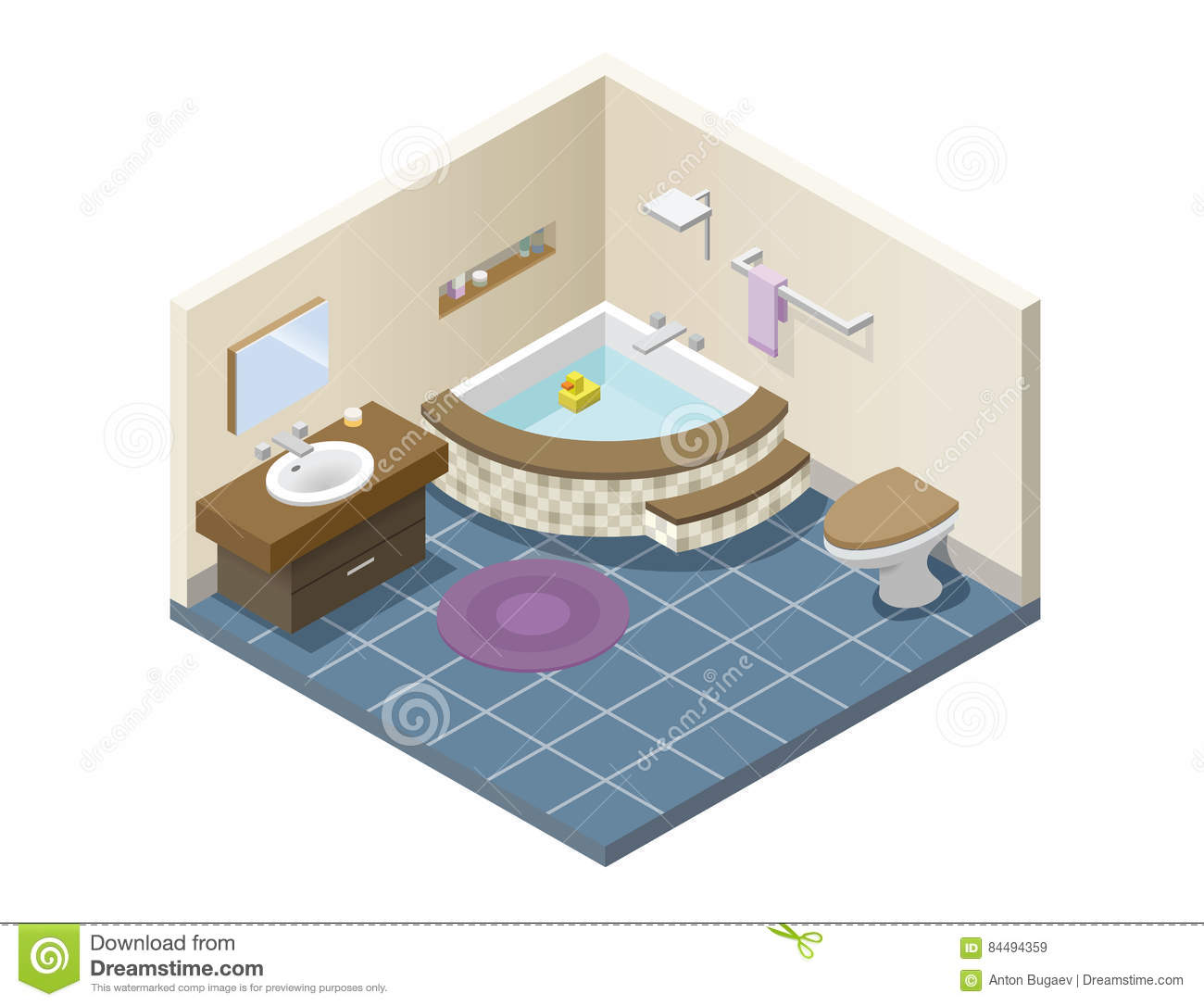 Vector Isometric Modern Bathroom, Set Of Bath Furniture Stock Vector ...