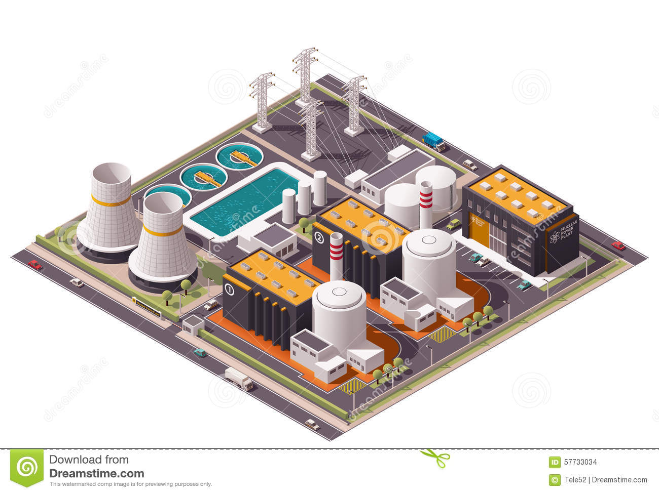 isometric nuclear power station with pipes cartoon vector