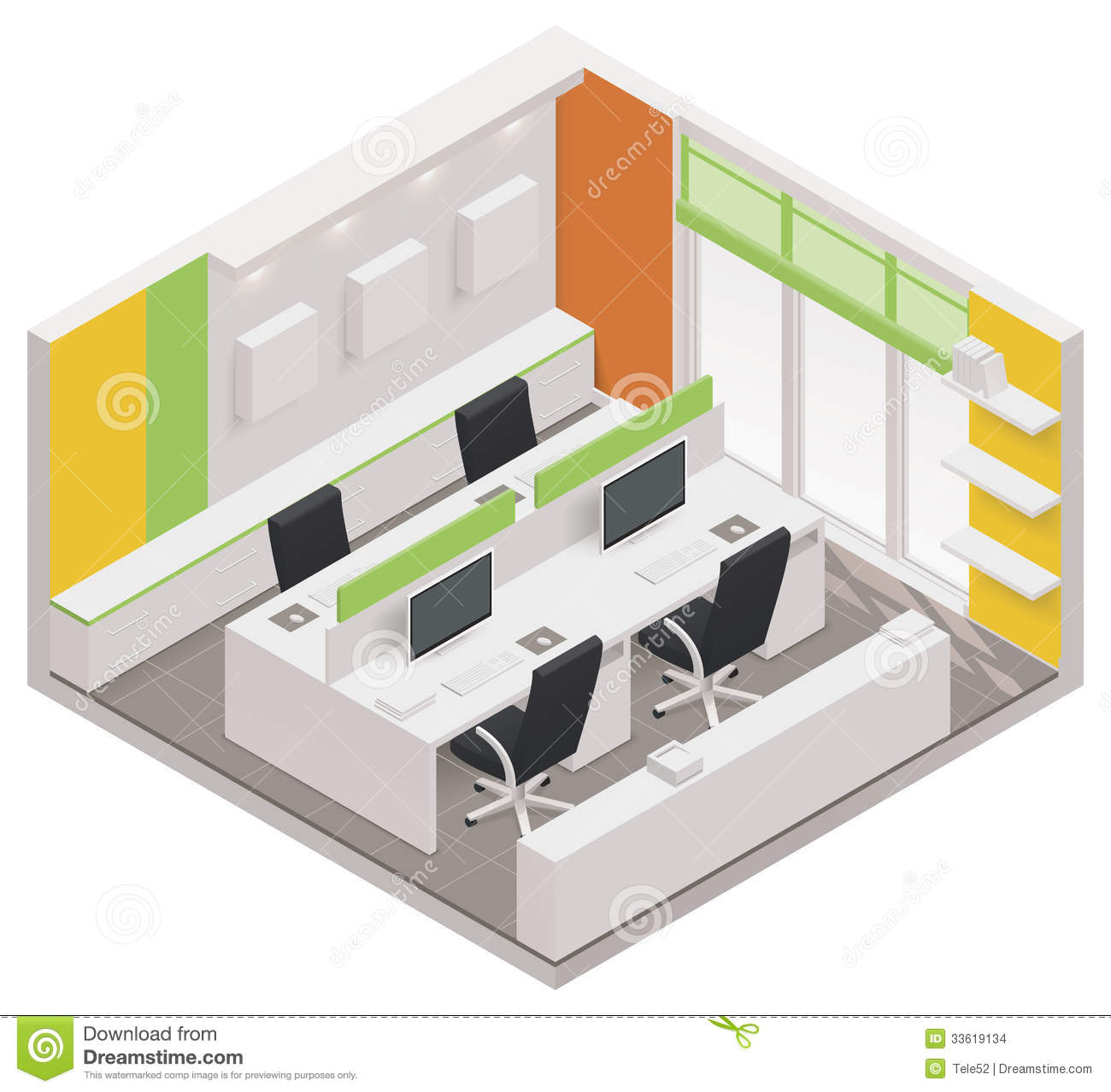 Vector Isometric Office Room Icon Stock Images - Image: 33619134