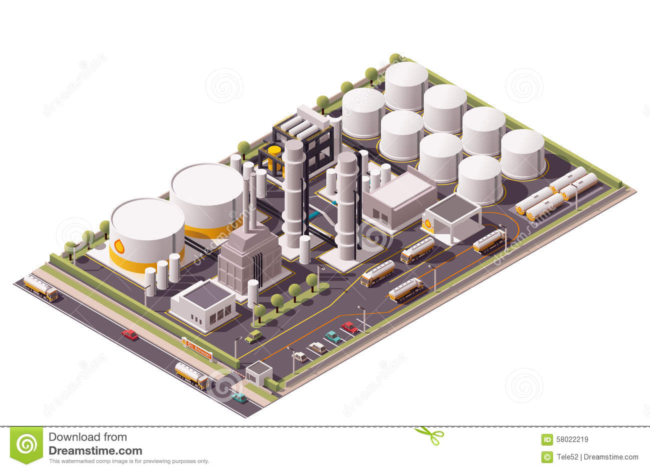 Vector Isometric Oil Refinery Stock Vector - Image: 58022219