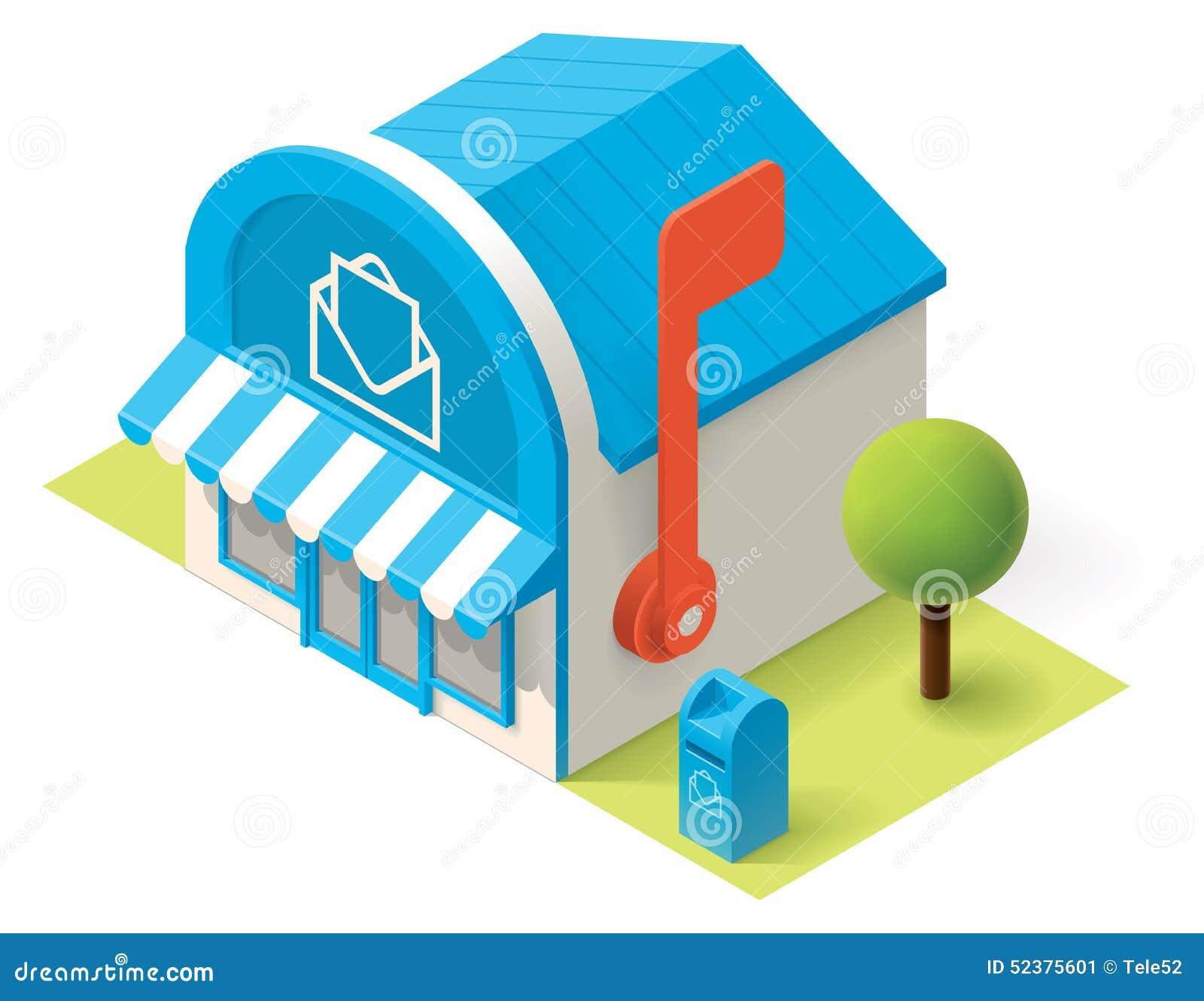 Vector Isometric Post Office Stock Vector Illustration