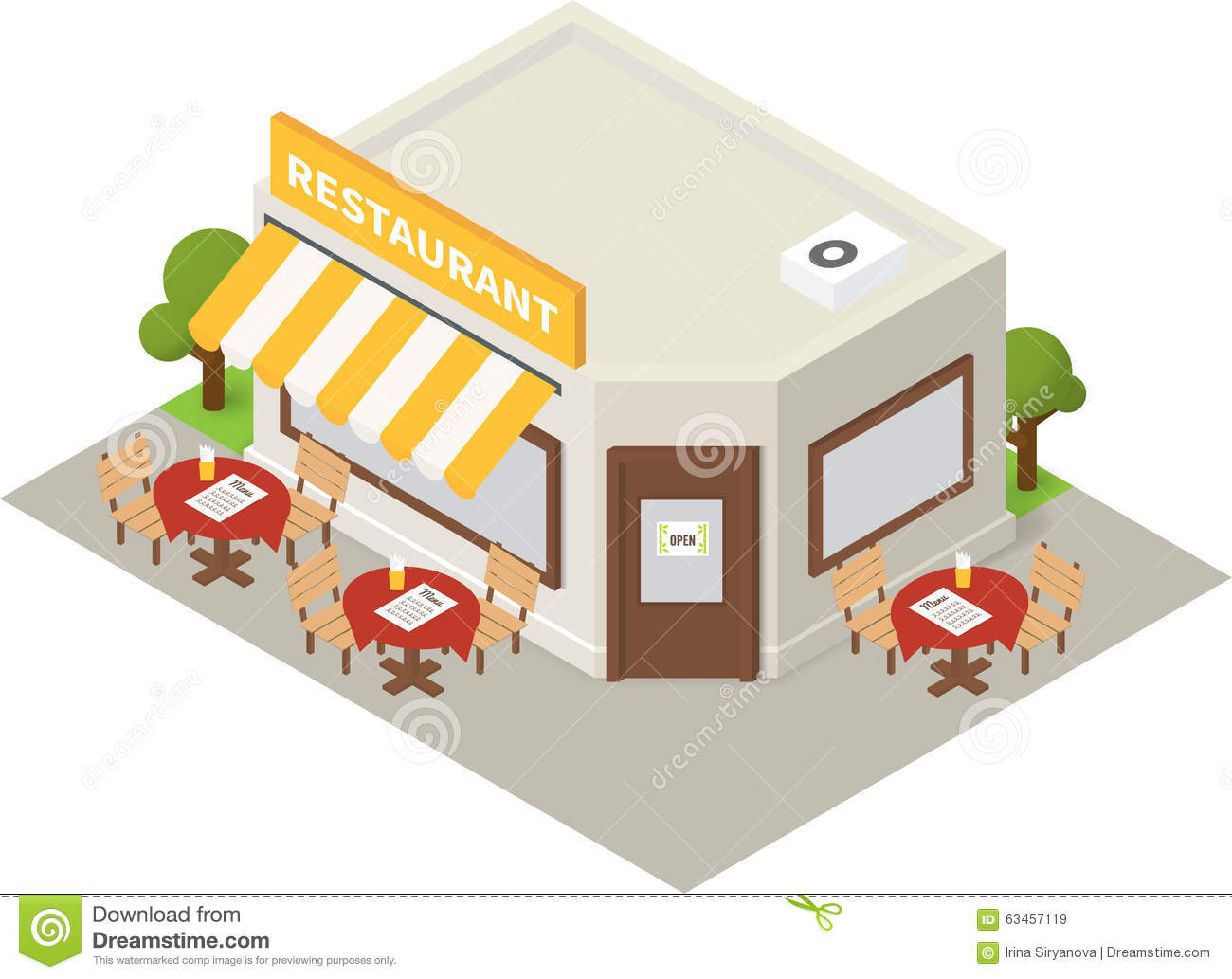 Vector Isometric Restaurant Cafe Building Icon Stock