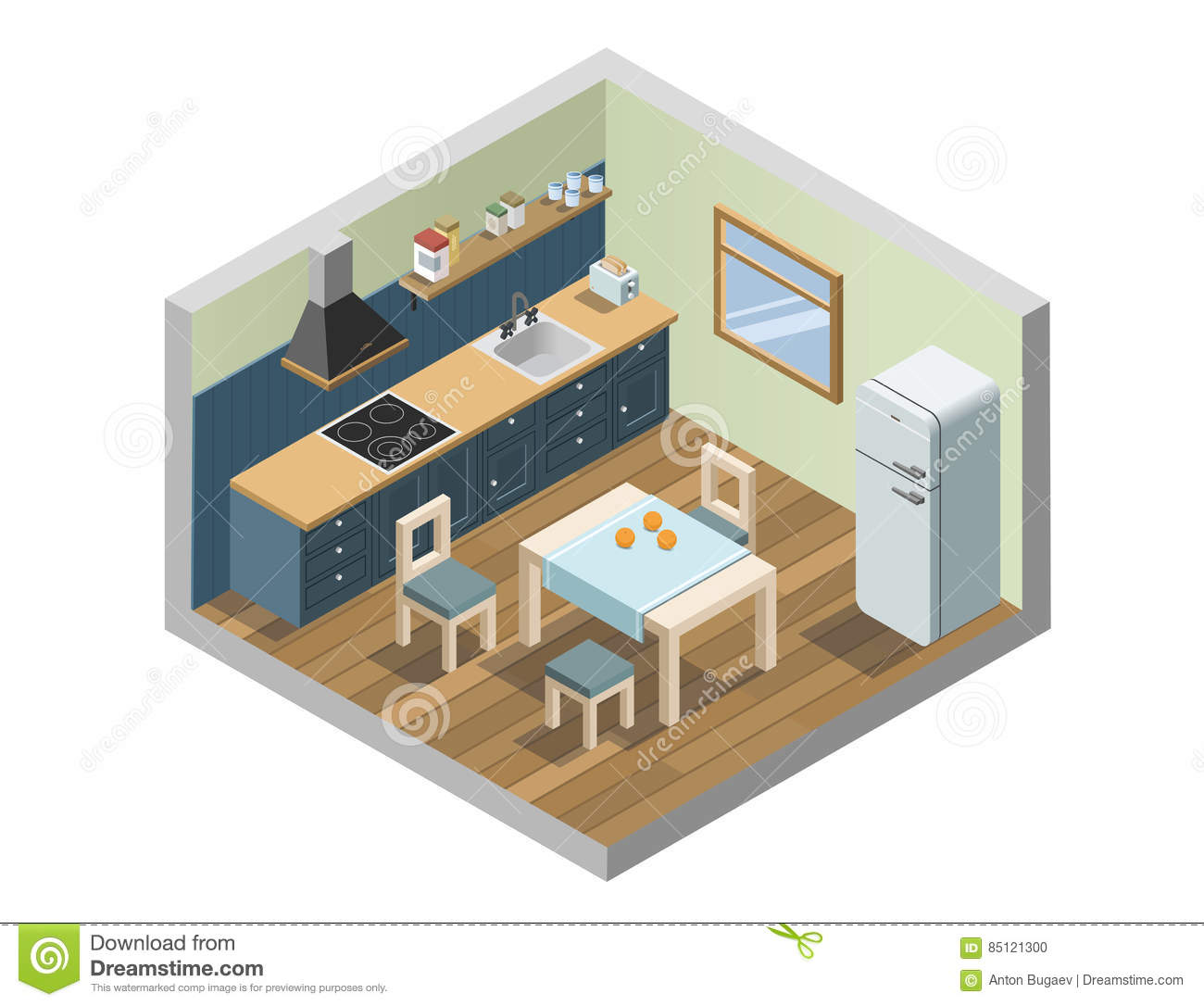 Vector isometric set of kitchen furniture and household appliances icons 3d flat interior design of home elements cooking place