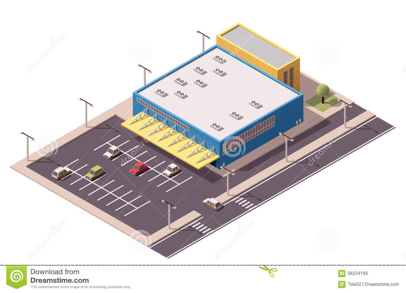 Vector Isometric Shopping Mall Stock Image 56234193