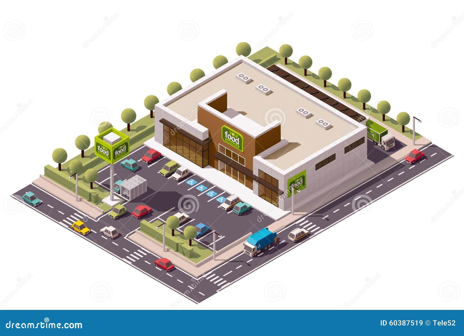 Vector Isometric Supermarket Stock Image 60387519