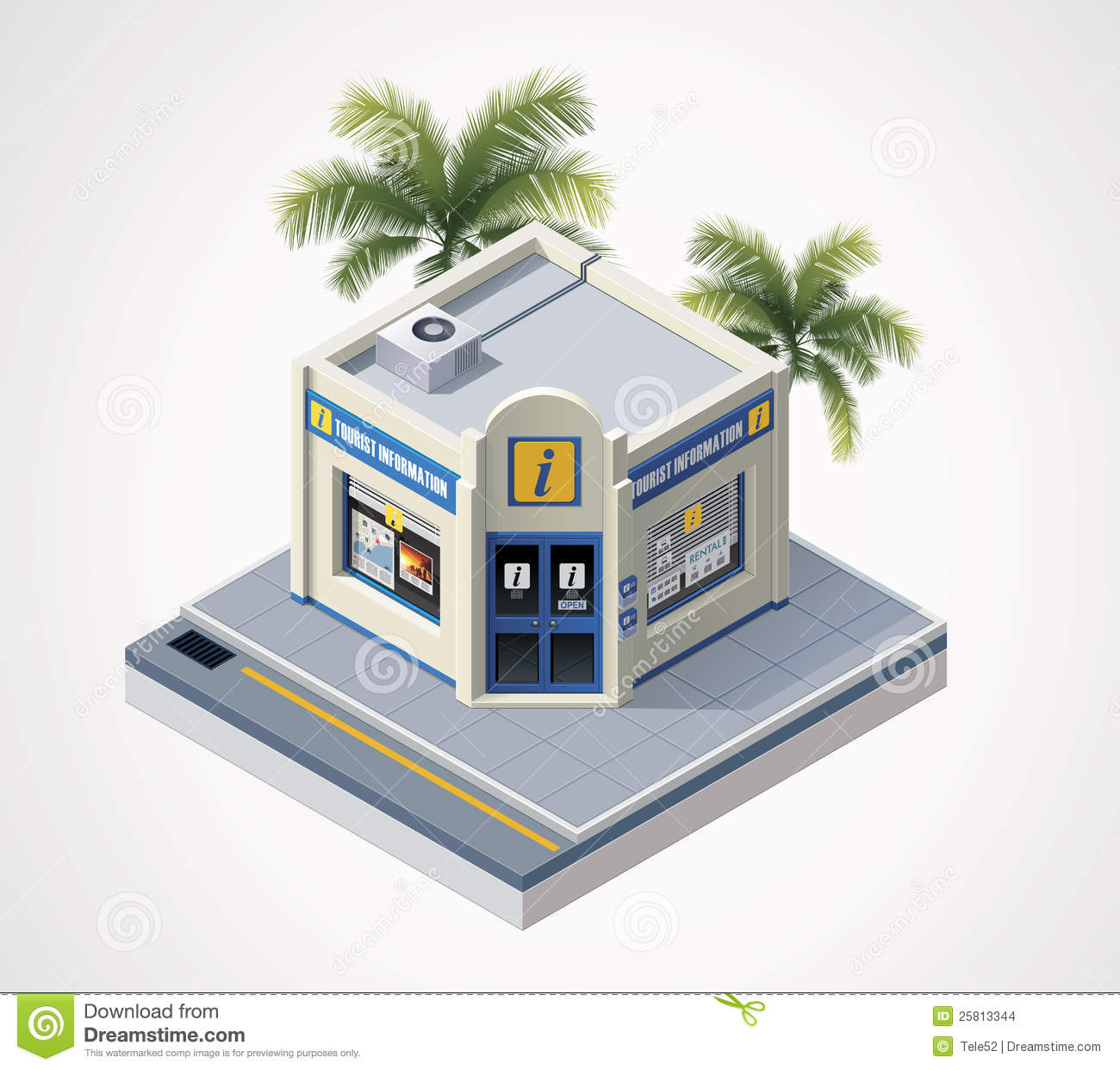 Detailed icon representing small tourist information office building.