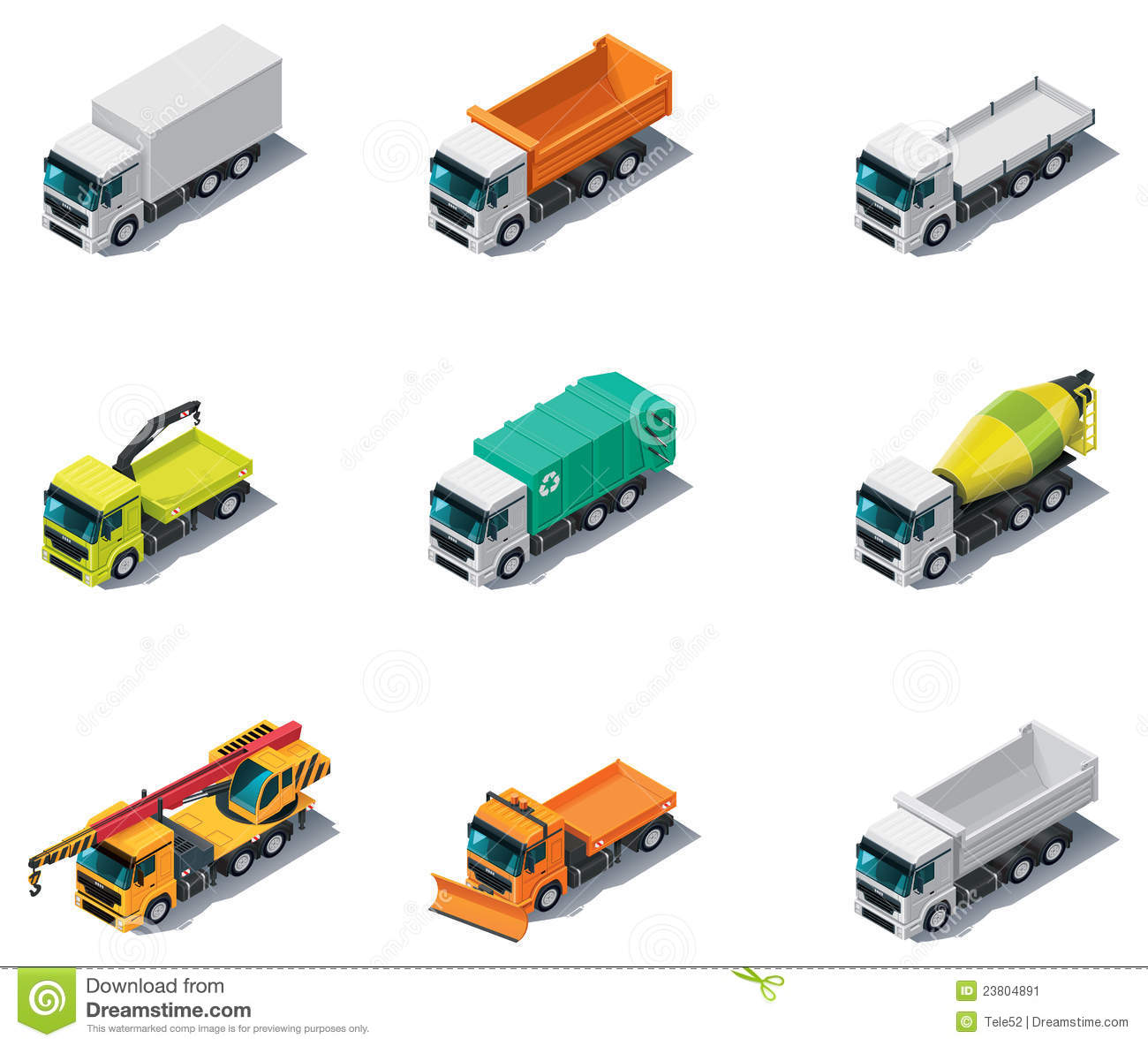 Vector Isometric Transport Trucks Stock Image Image 23804891