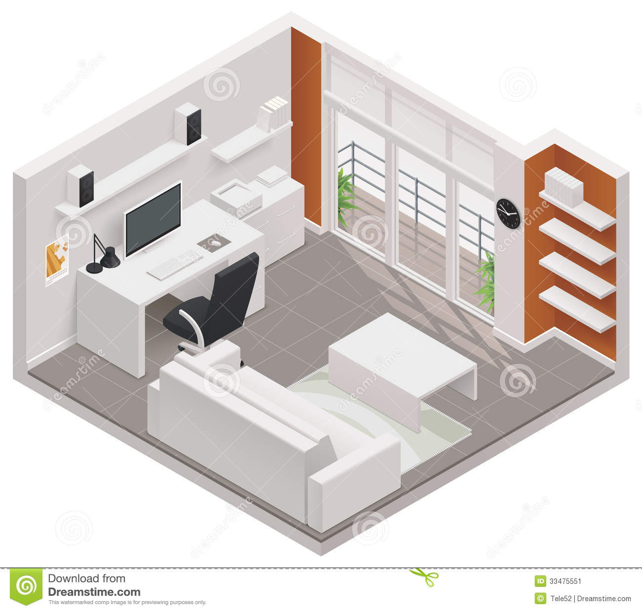 Vector isometric working room icon stock vector image for Room design vector