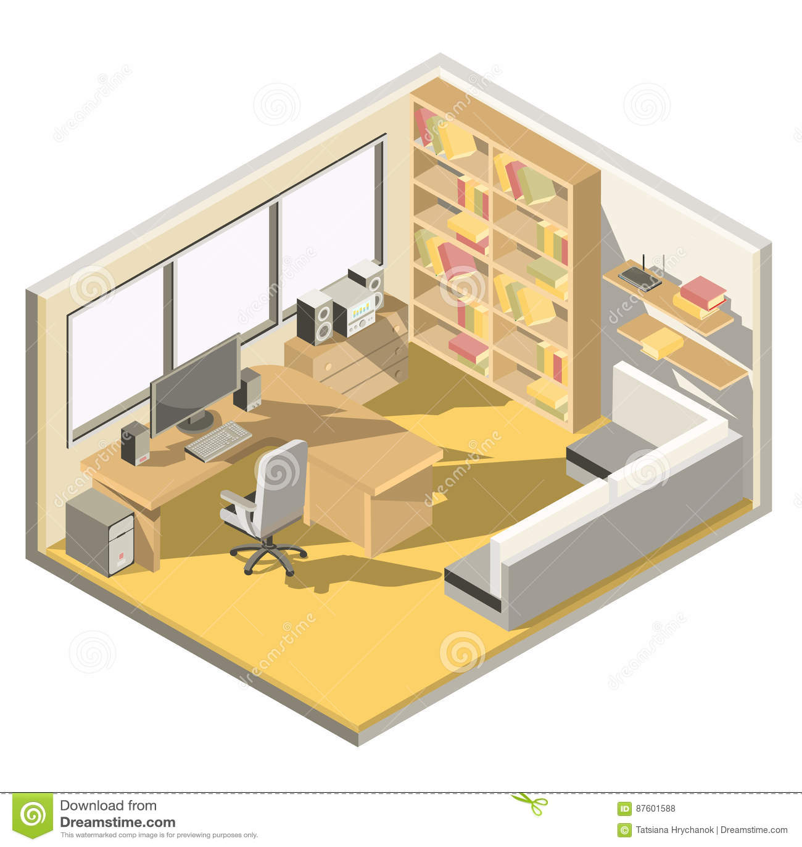 Vector isometrisch ontwerp van een huisbureau