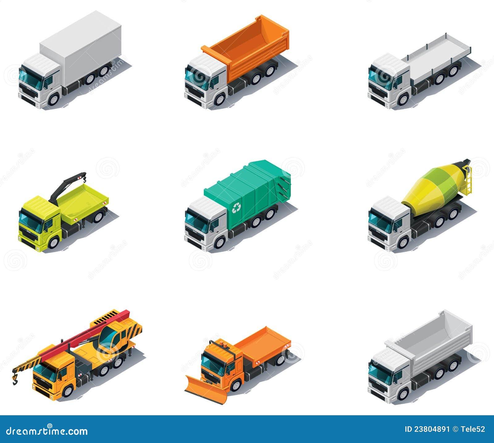 Vector isometrisch vervoer. Vrachtwagens
