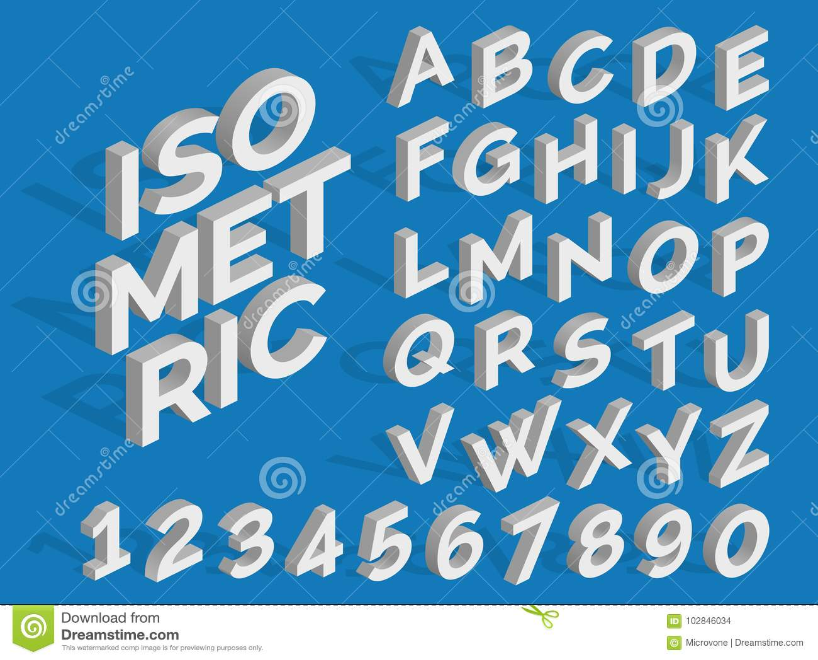 Vector isometrische alfabet en aantallen Funky 3d doopvont