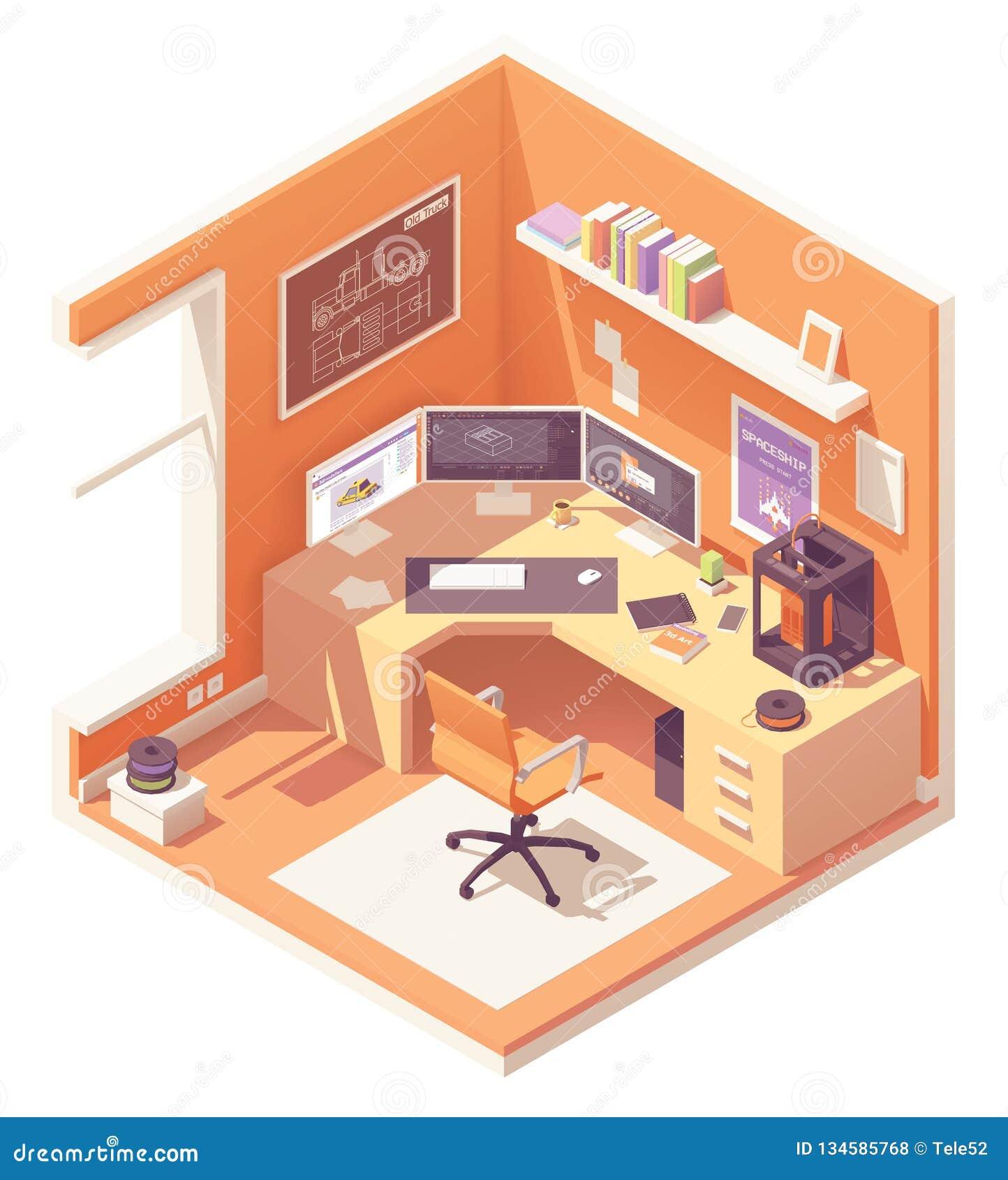Vector isometrische 3d kunstenaarswerkplaats