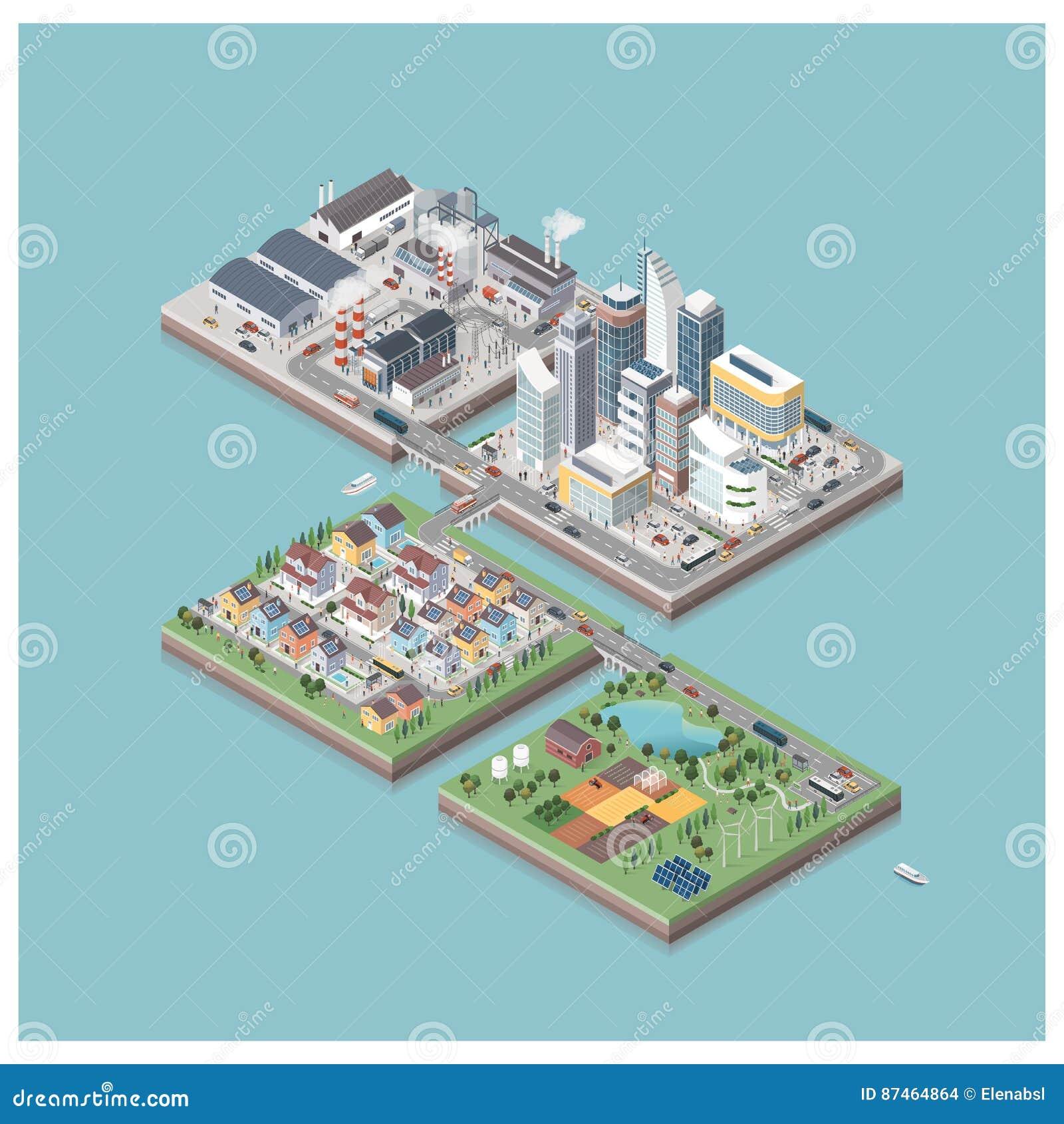 Vector isometrische stadseilanden met mensen en voertuigen
