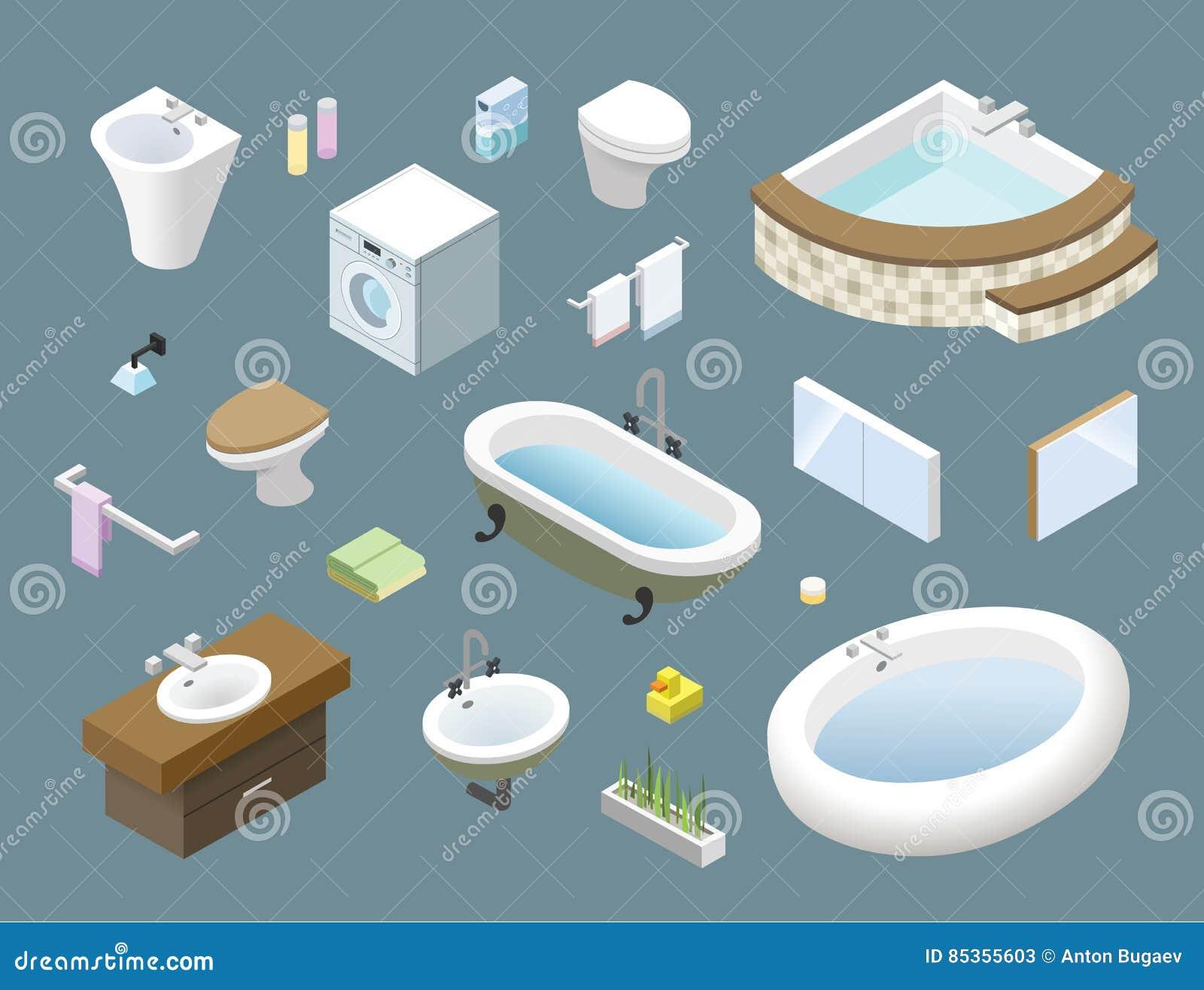 Vector Isometrischen Satz Badezimmermobel Ikonen Der