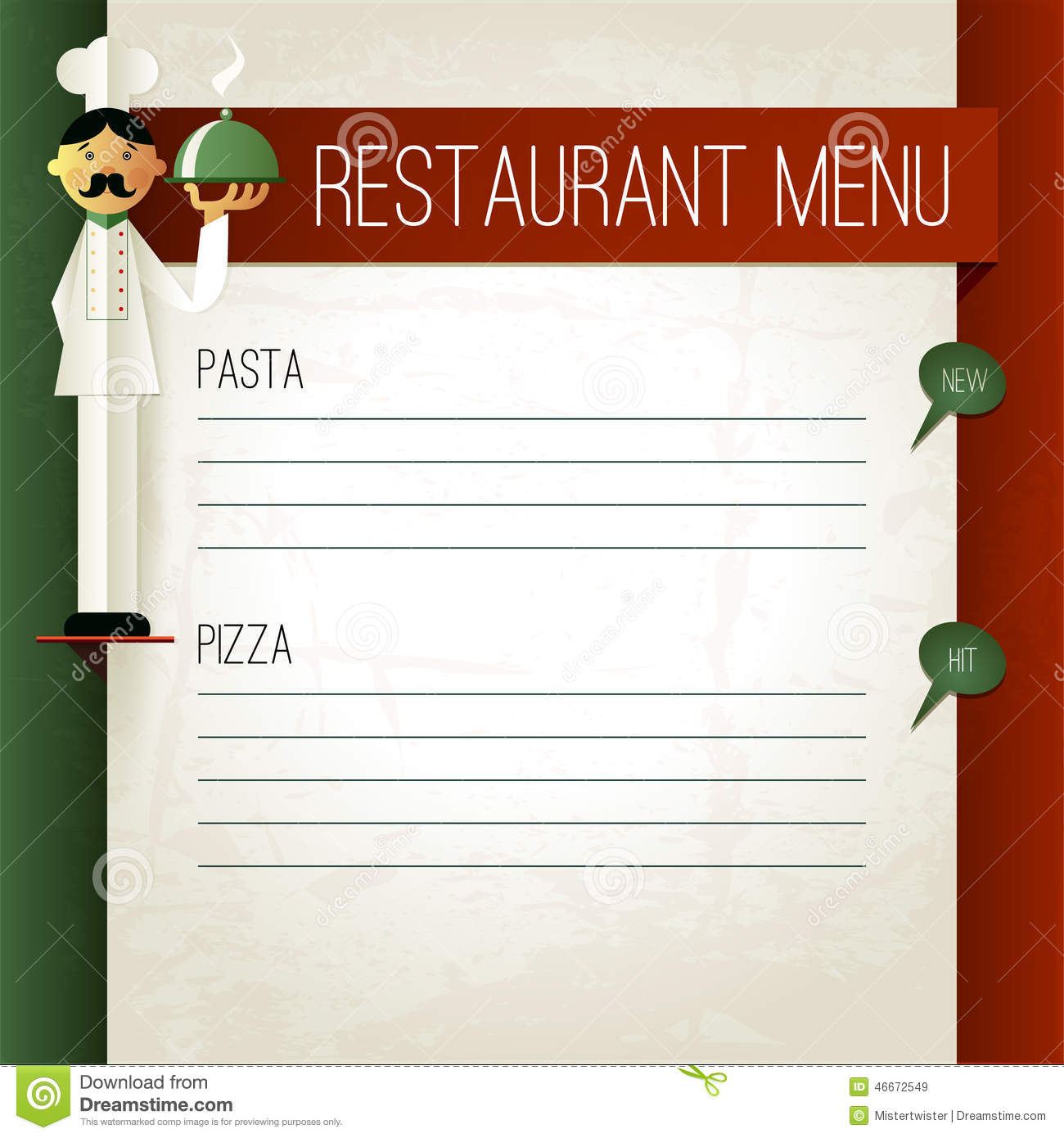 vector italian menu with chef and plate menu template stock vector