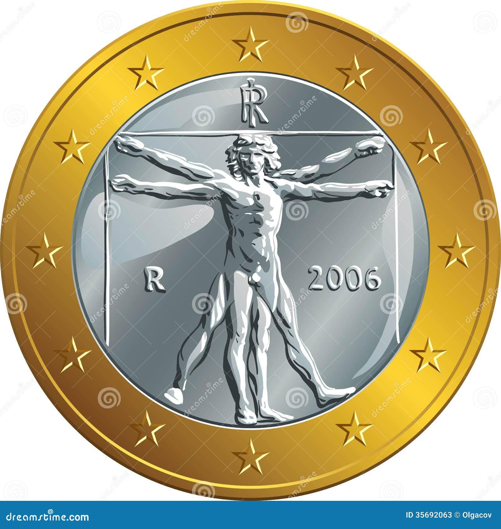 vector italian money gold coin one euro vitruvian stock vector illustration of star brass. Black Bedroom Furniture Sets. Home Design Ideas