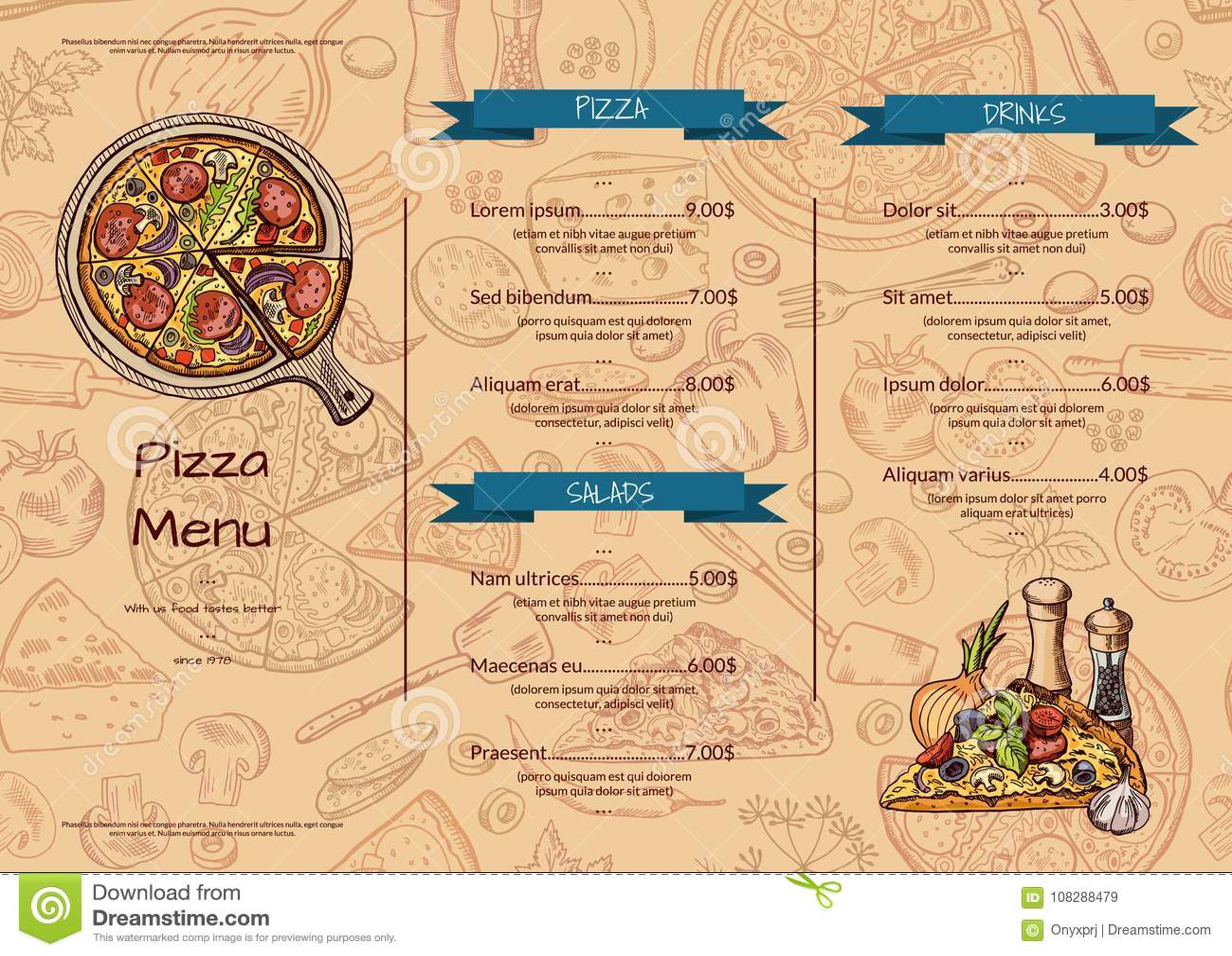 vector italian pizza restaurant menu template with hand drawn