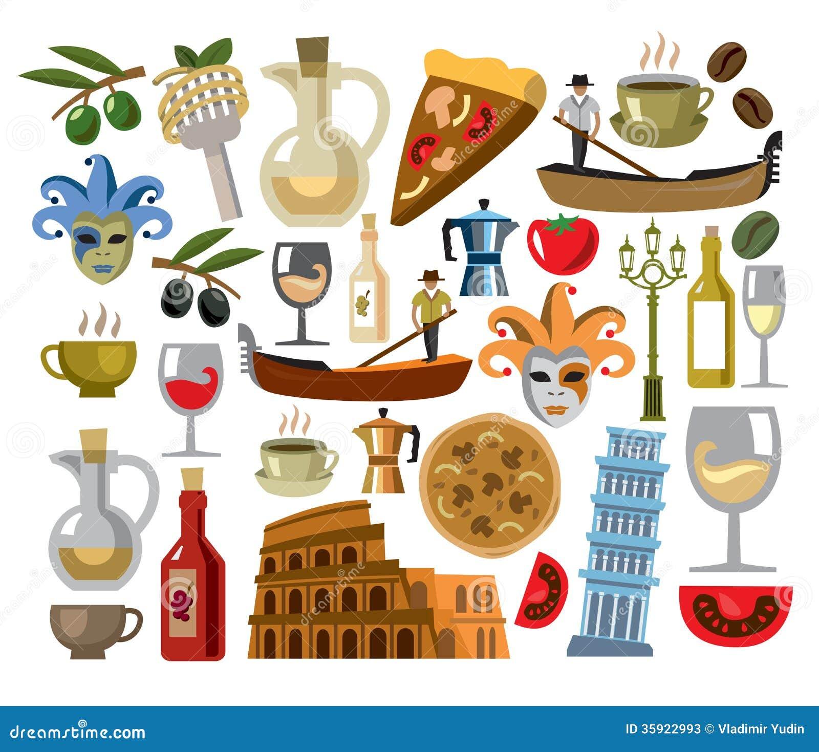 Italian Restaurant Logo With Flag: Vector Italy Icons Set Stock Photos