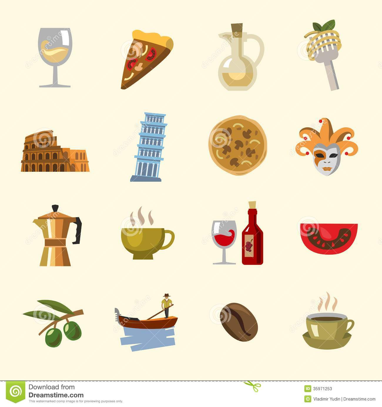 Vector Italy Icons Set Stock Photos Image 35971253