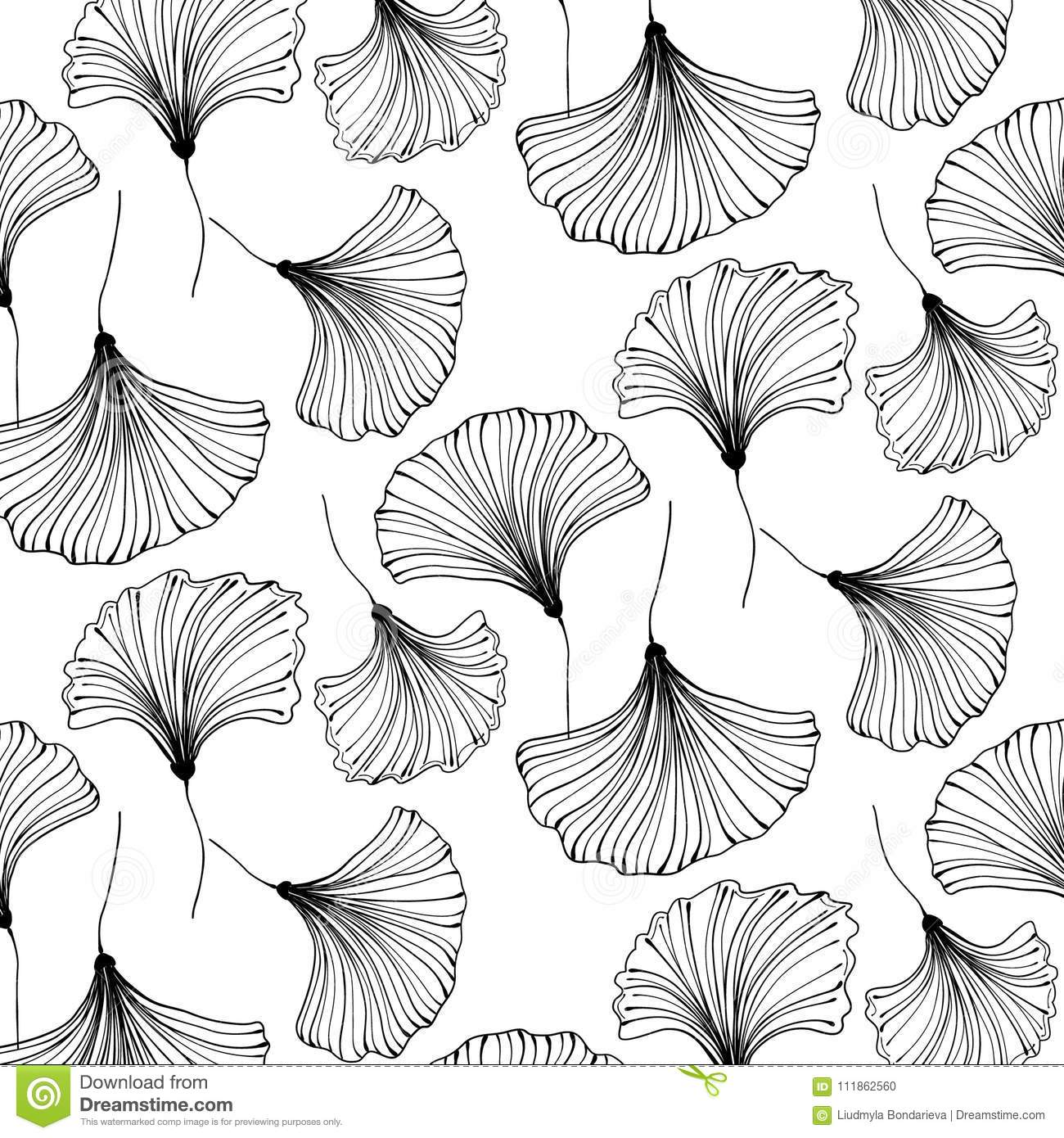 Vector japanese gingko beautiful background floral textile decoration vintage leaf pattern interior design