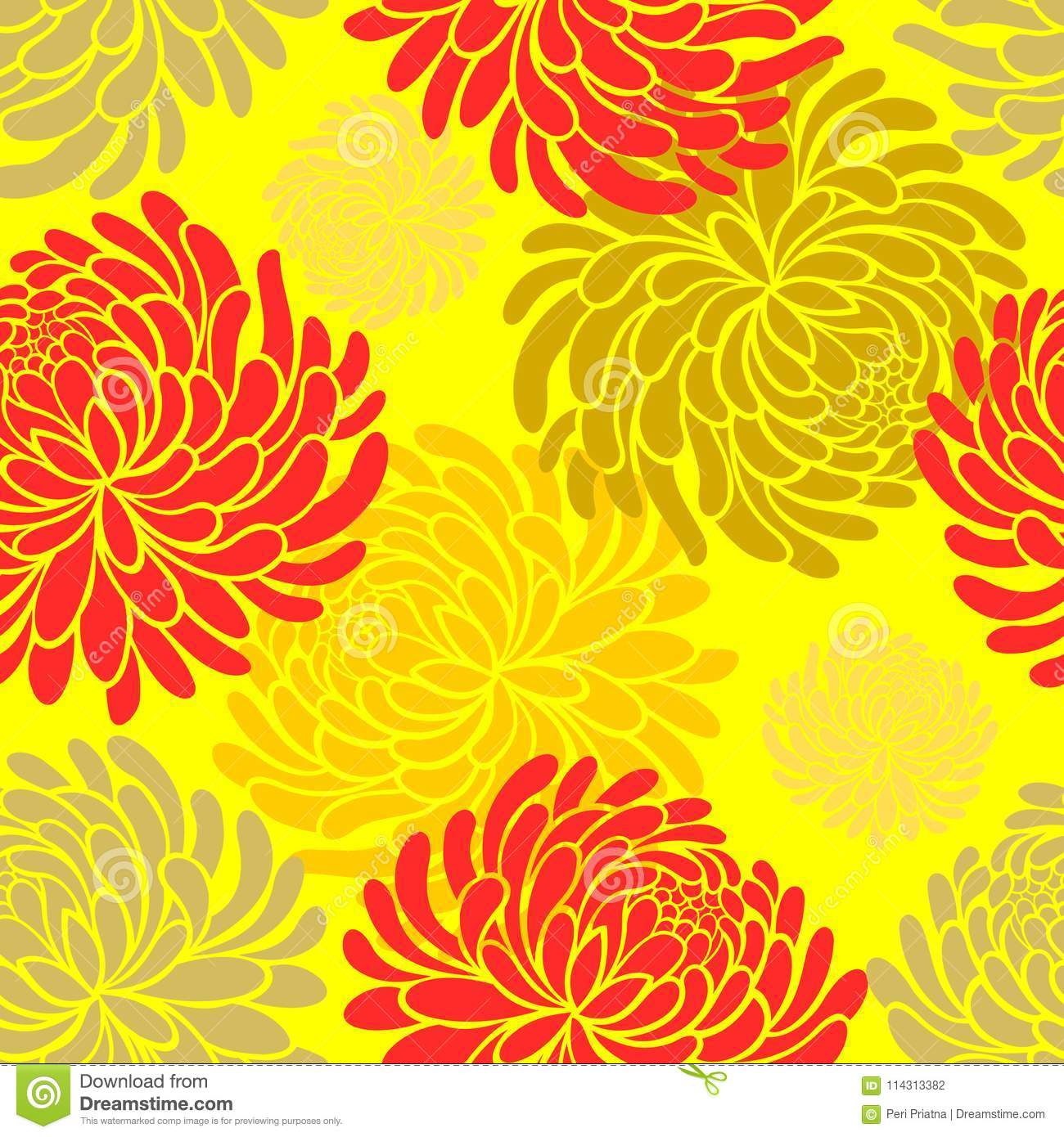 Vector Japanese Seamless Pattern With Chrysanthemums On Yellow
