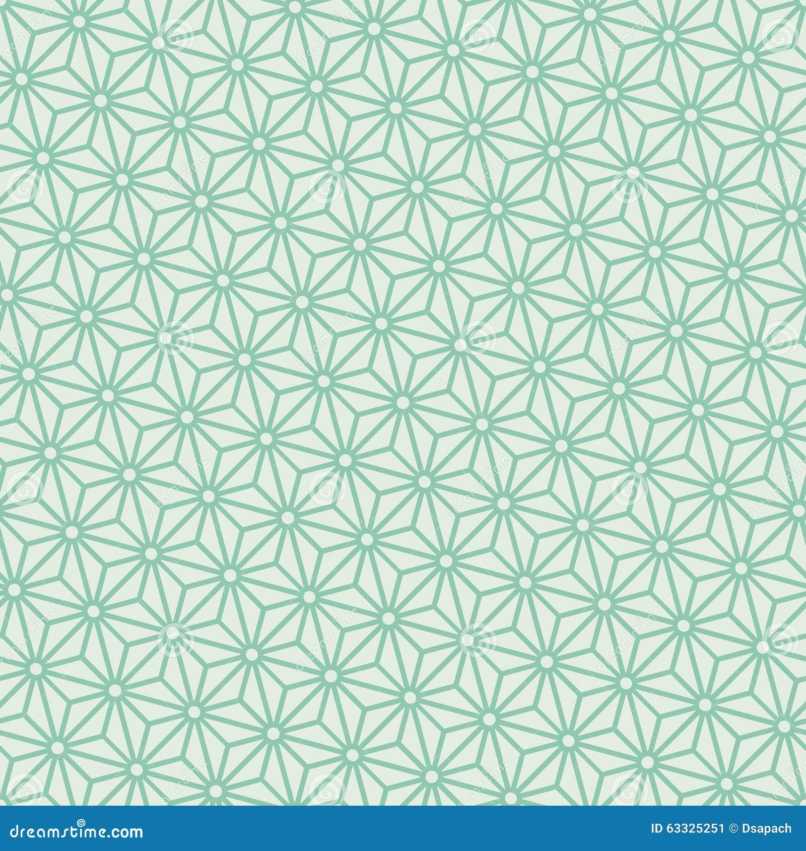 Vector japonés diagonal del modelo del asanoha de la turquesa inconsútil