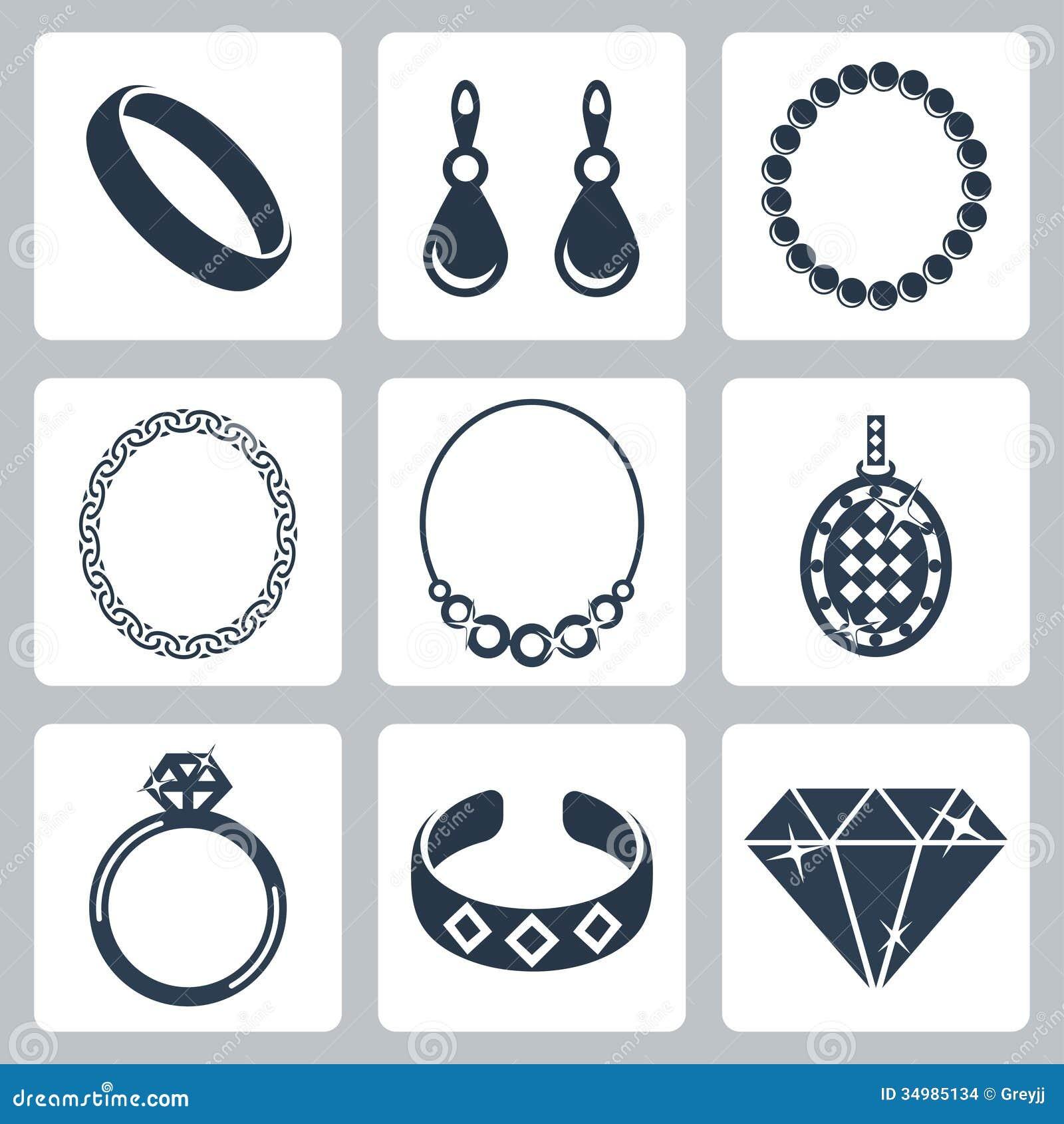 Vector jewelry icons set